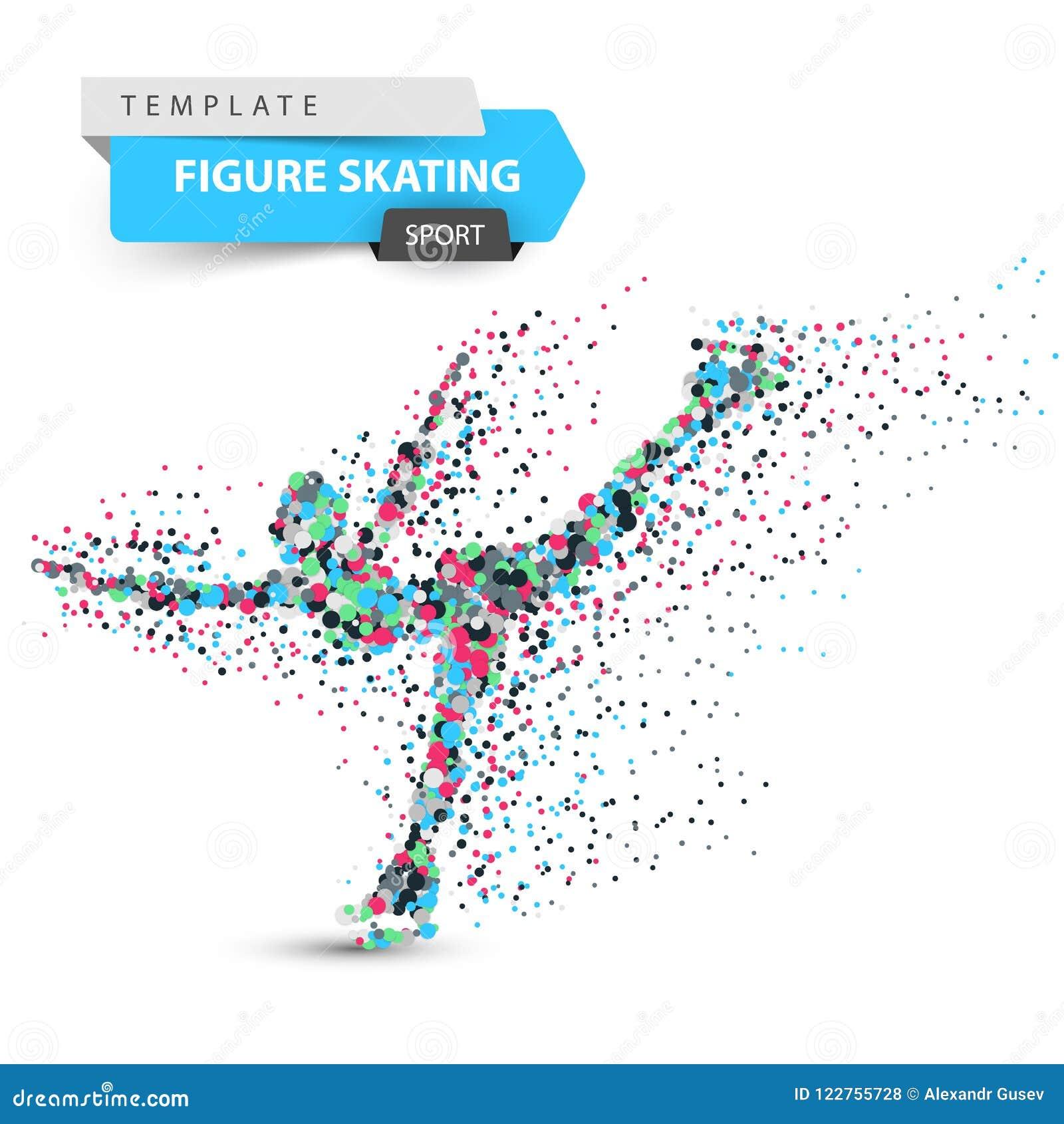 Figure skating - dot illustration. Sport template.