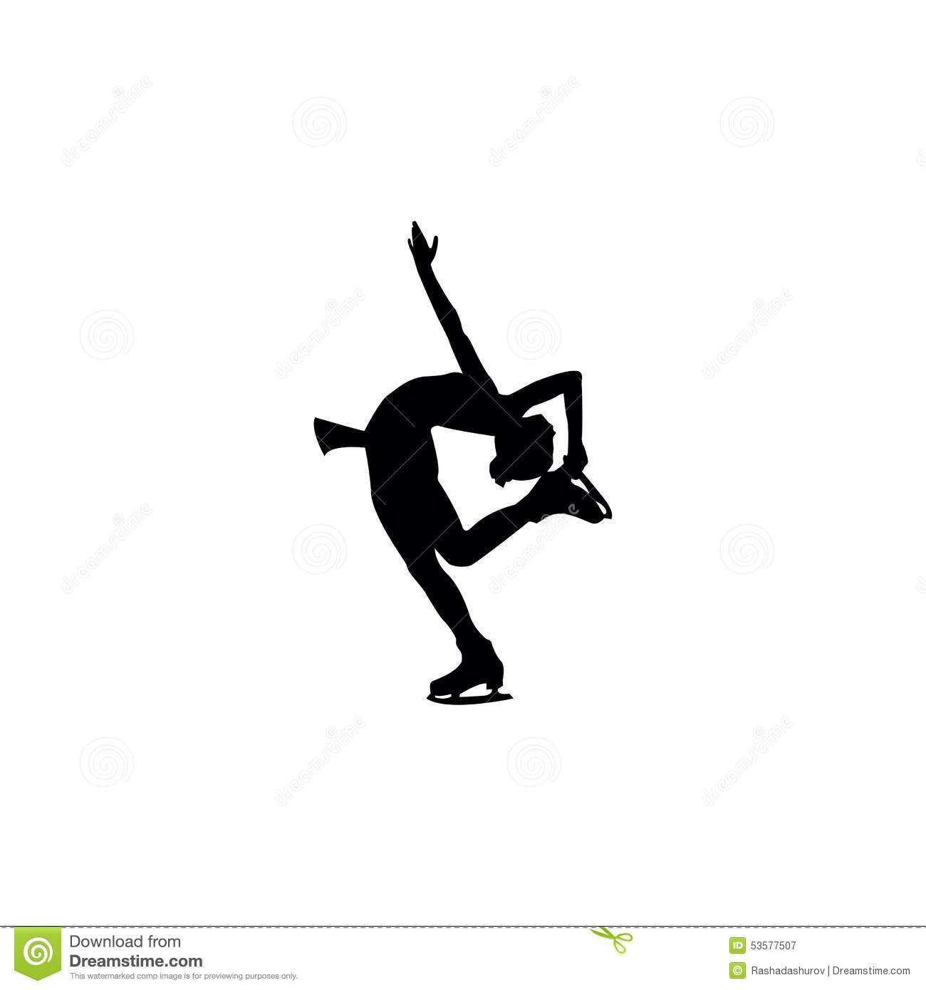 Figure skating individual, silhouettes, black on the white background.
