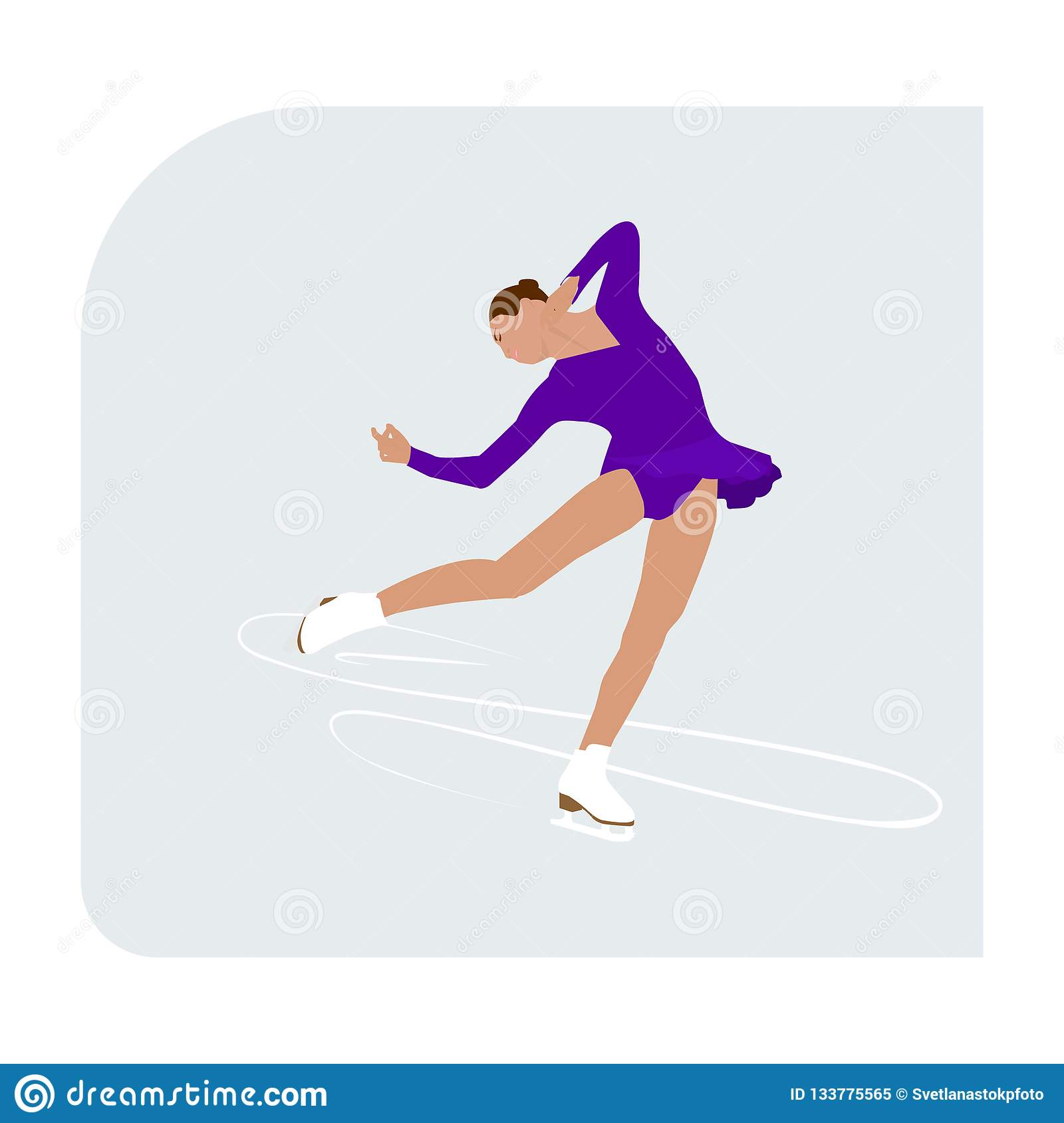 Figure skating rink with skater athlete winter sport woman lady