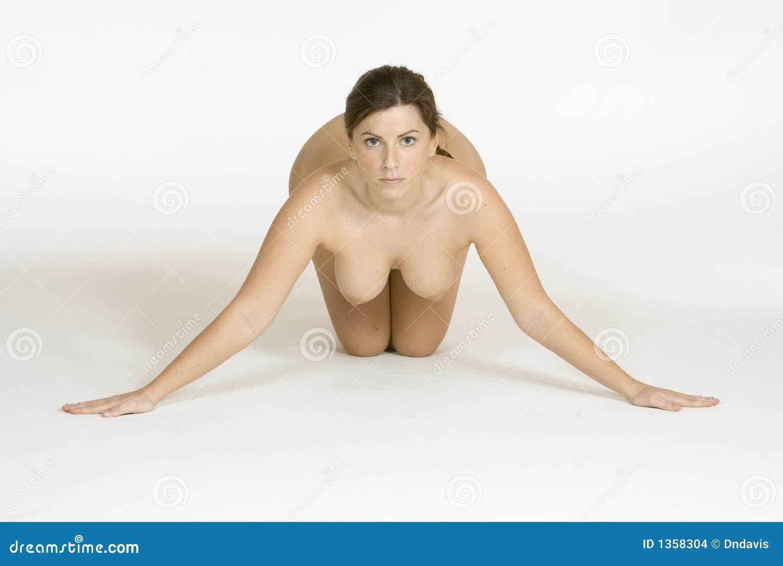 Beautiful Caucasian Woman Posing Nude On White Background ...
