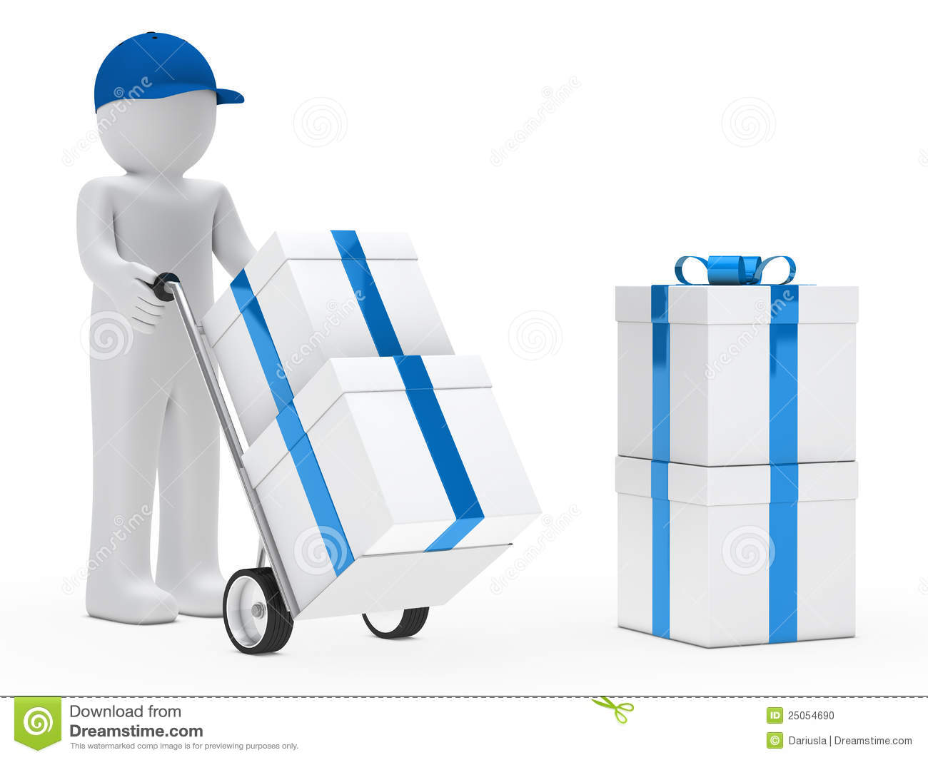 Figure Supplier Push Hand Truck Stock Photo - Image: 25054690