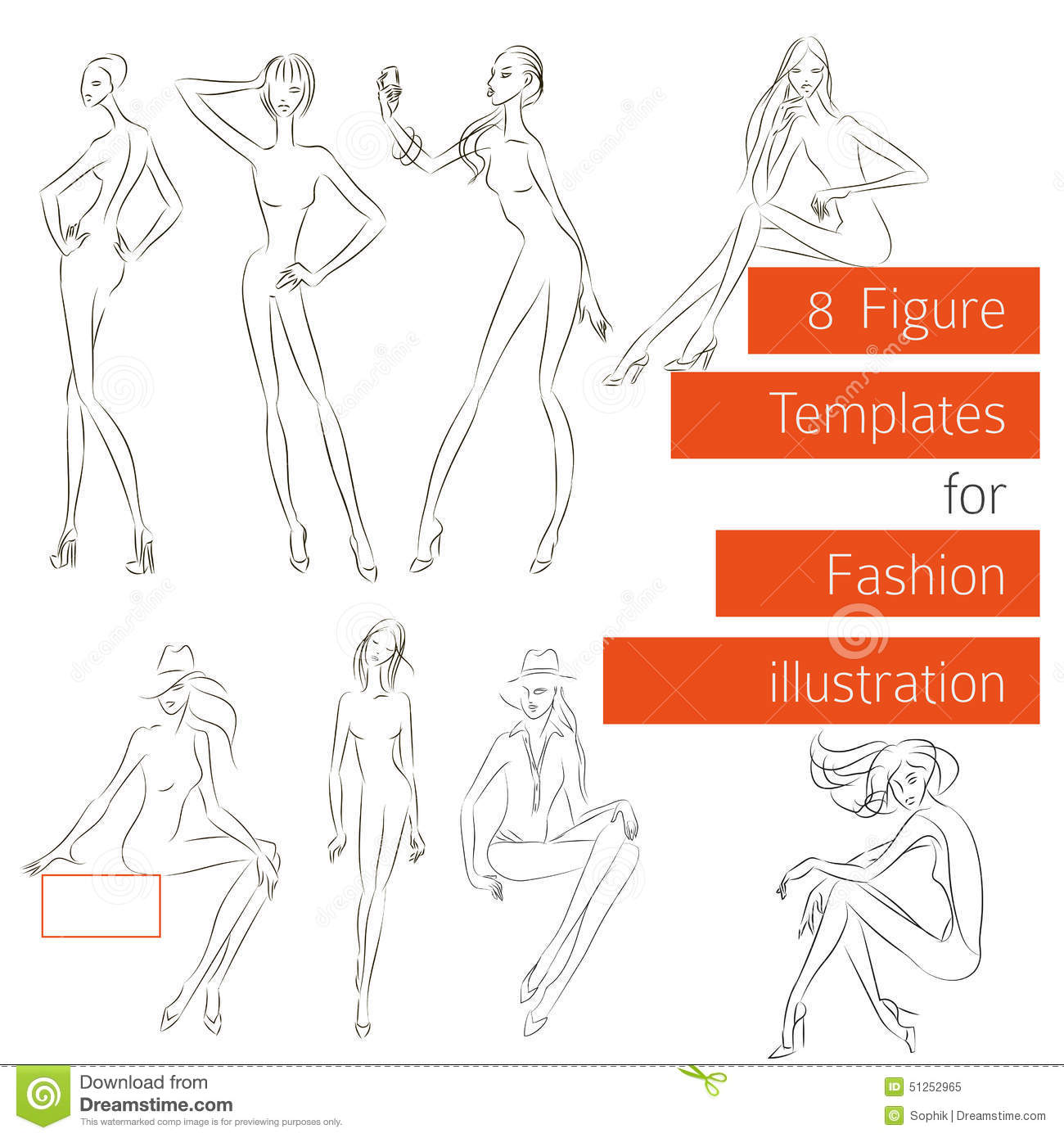 fashion designing templates free download - figure templates for fashion illustration stock