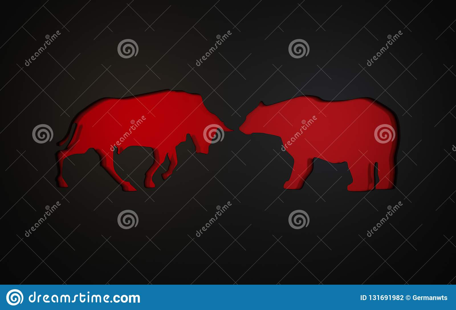 Applique of the symbols of a bull and bear used in the stock market. 3D rendering