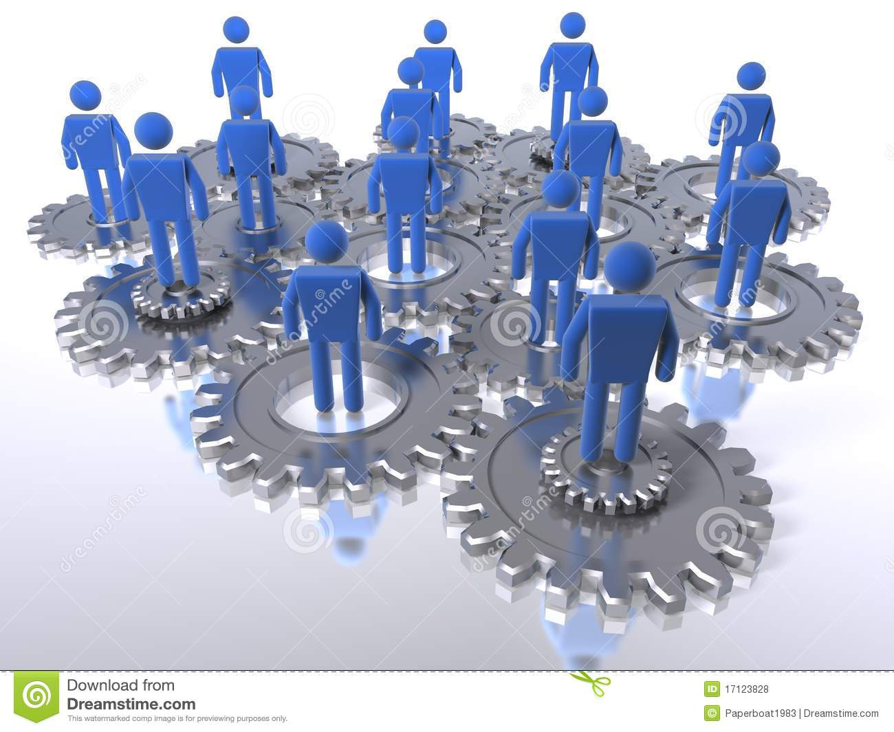 Figures on cogs as a metaphor for a team