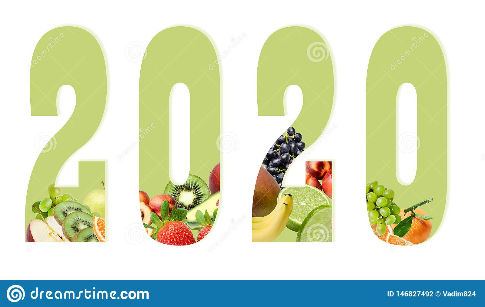 Figures of the new year 2020 on a white background decorated with fruit composition below. Design element for print or web