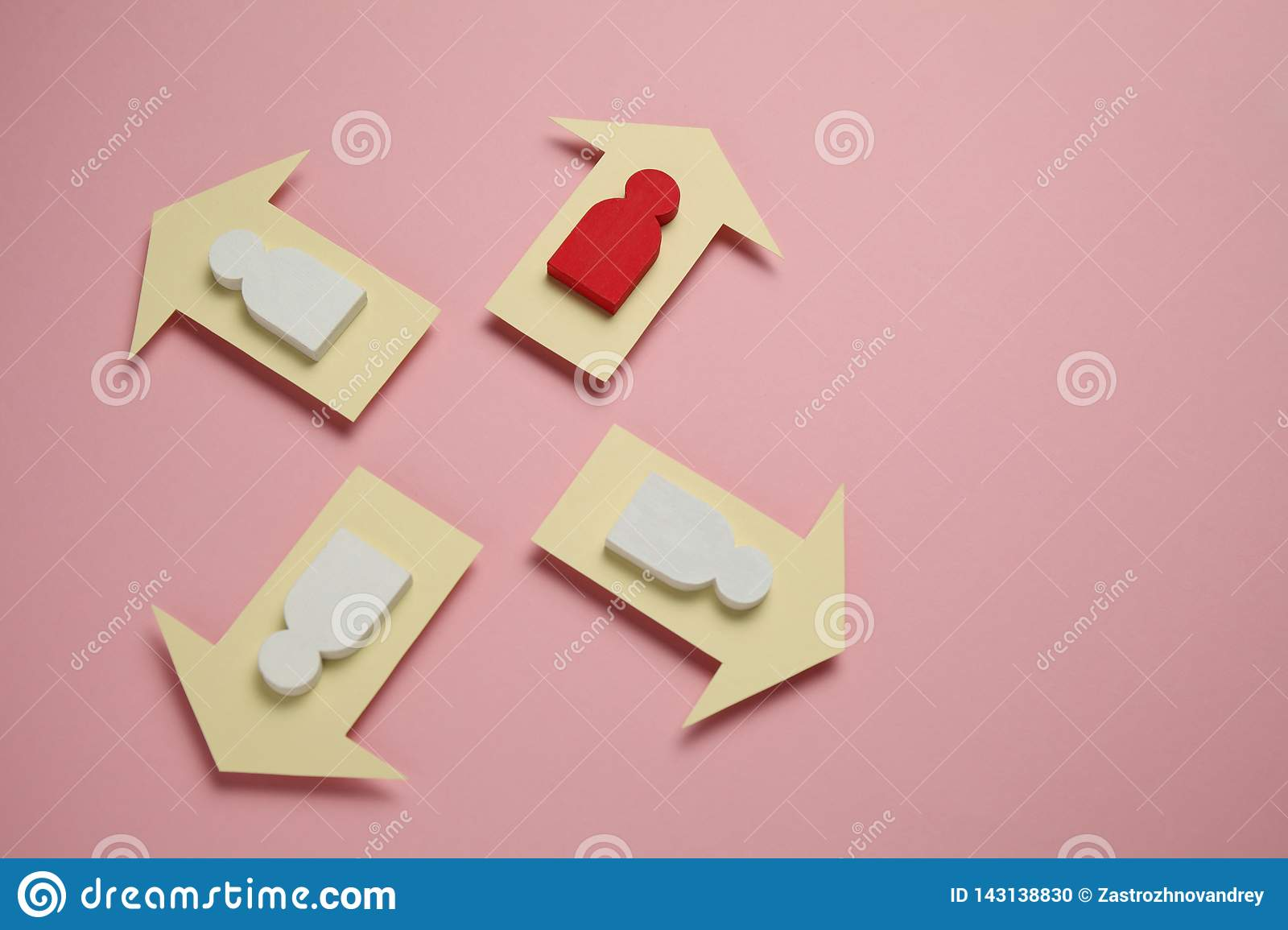 Figures of people and arrows on pink background. Women`s ambitions and achievements and success