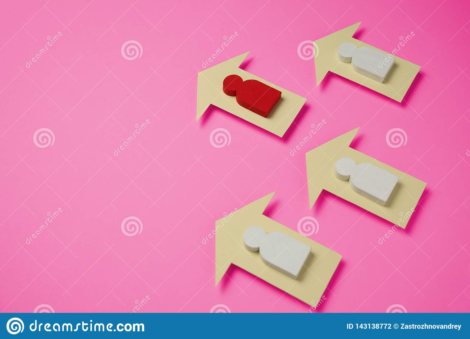 Figures of people and arrows on plastic pink background. Women`s achievements in life and business