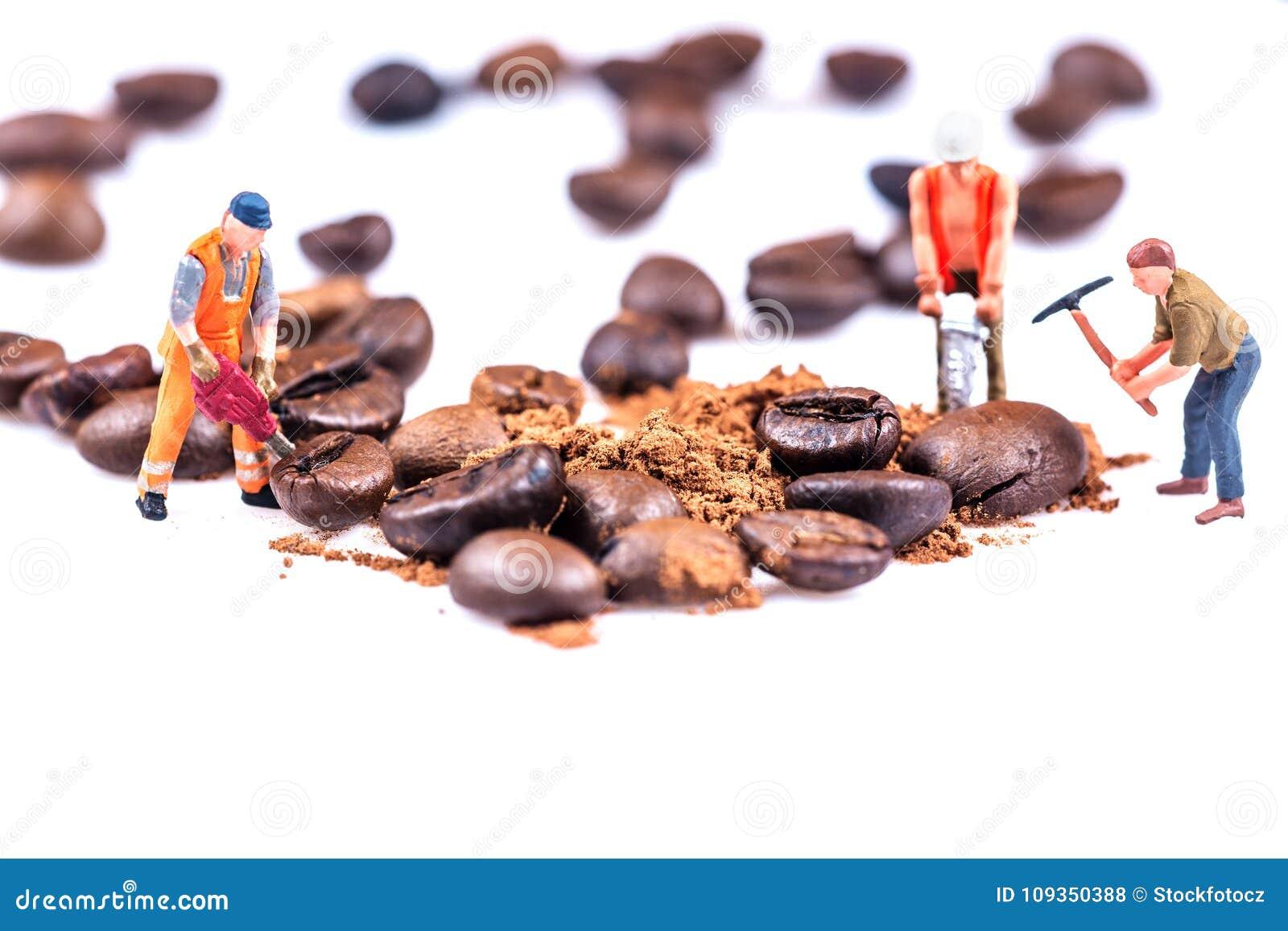 Figures working on coffee