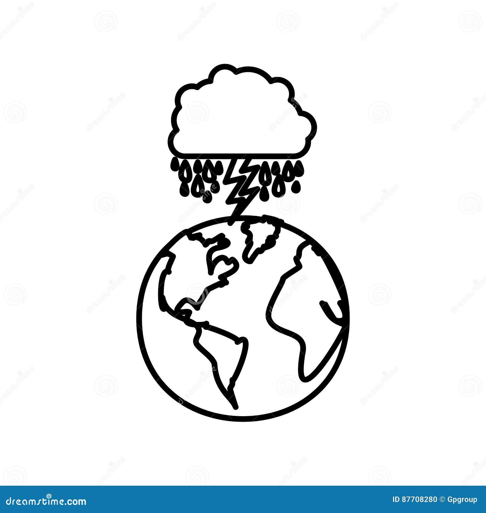 Figurez la planète de la terre avec rainning et rayon de nuage