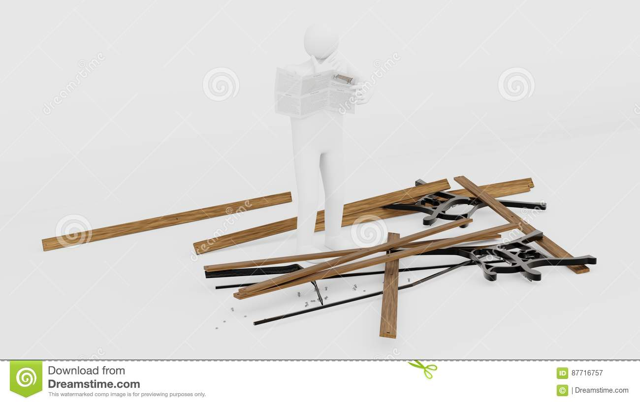 Swell Figurine Trying To Assemble A Parkbench Stock Illustration Caraccident5 Cool Chair Designs And Ideas Caraccident5Info