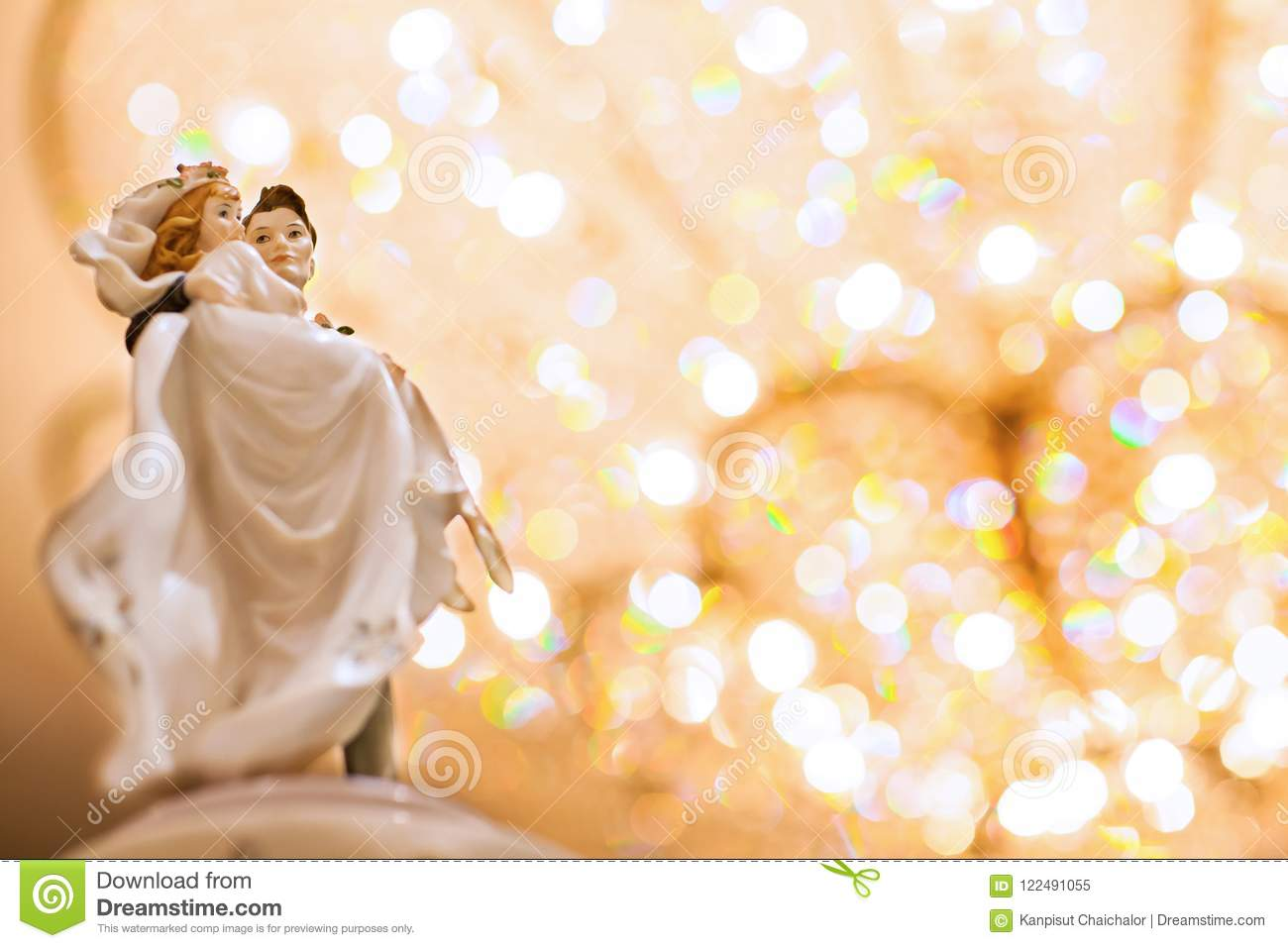 Figurines Of The Bride And Groom On A Wedding Cake. Stock Image ...