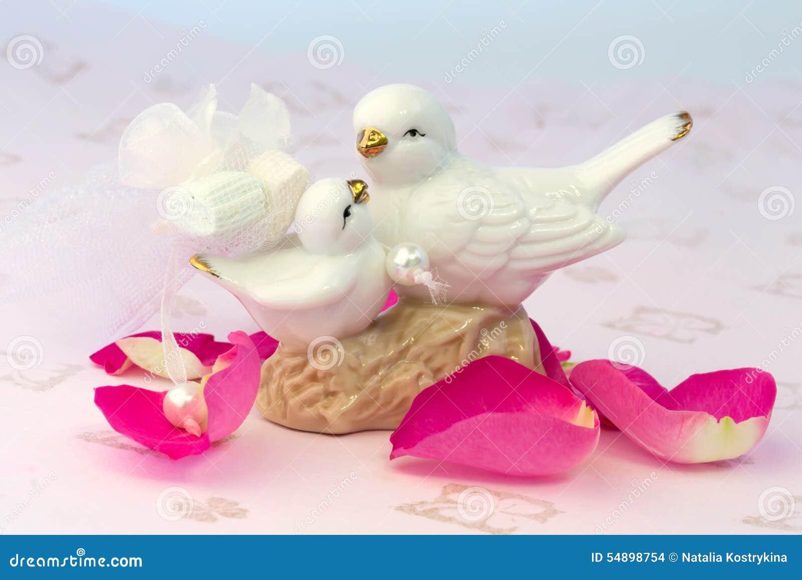 Figurines Of Lovers Pair Of Wedding Doves Valentine Love Stock Photo ...