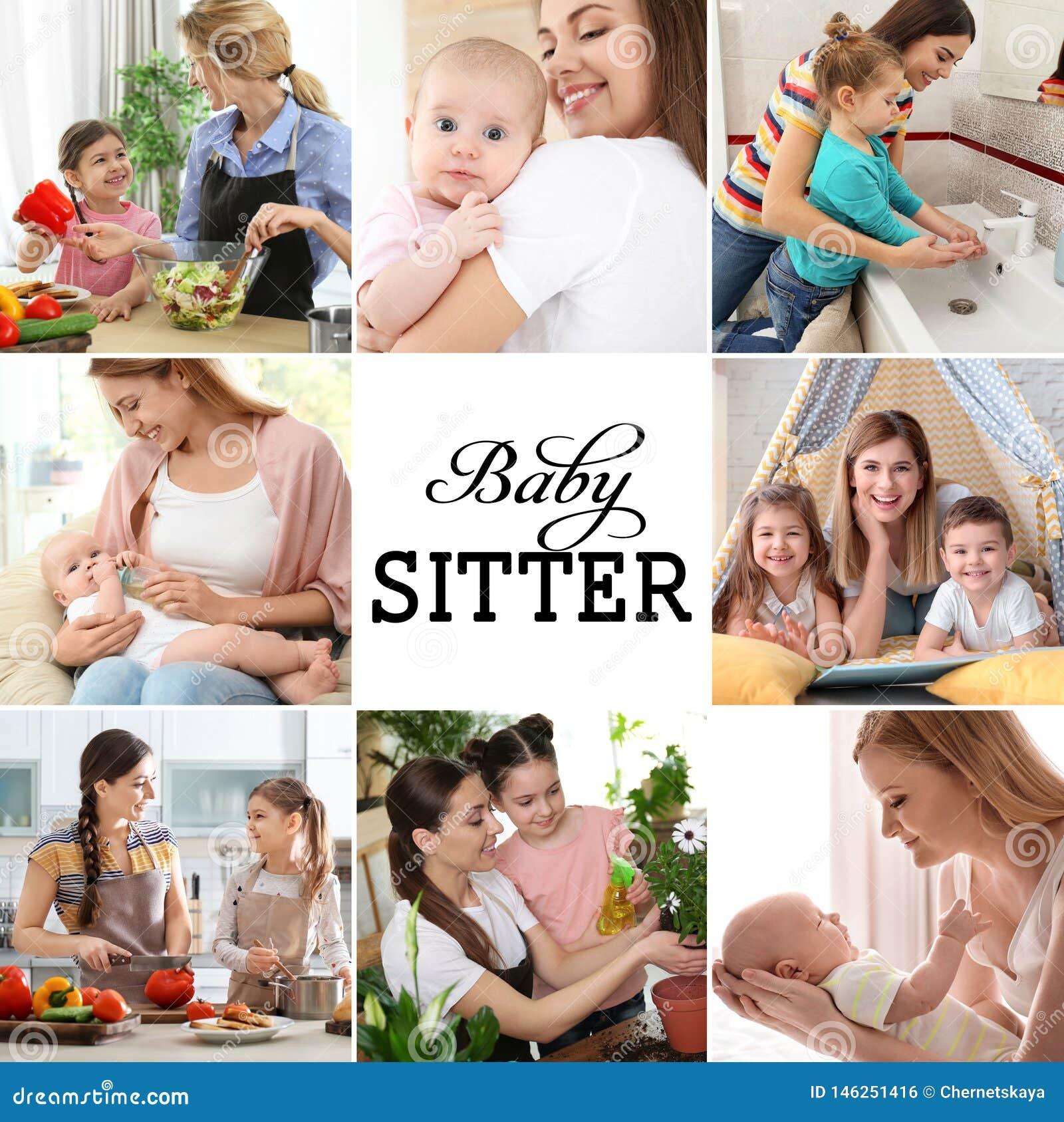 Fijado con las imágenes de niños y de niñeras adorables