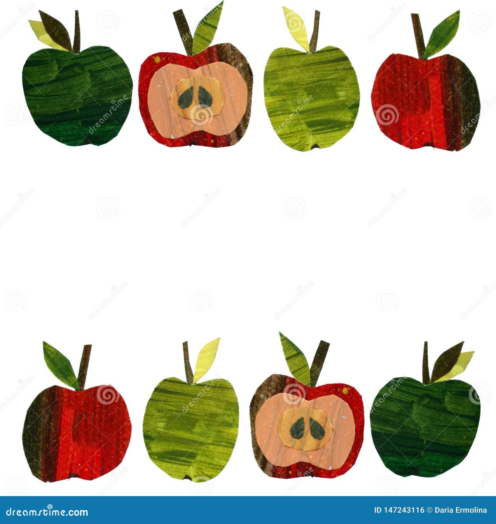 Fijado con las manzanas de papel de un recorte