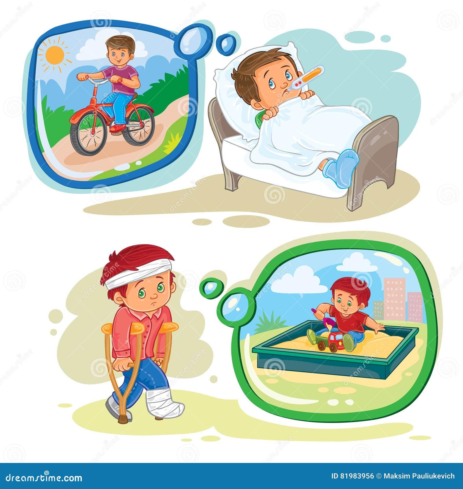 Sistema del niño pequeño de los ejemplos del clip art del vector enfermo e  ideal recuperarse cec7a790c8f