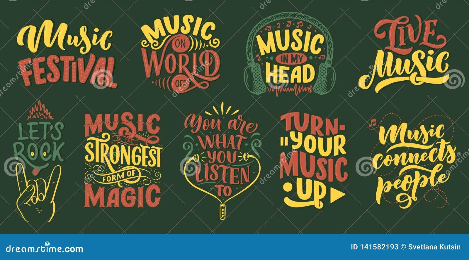 Fije Con Citas Inspiradas Sobre Música Ejemplo Dibujado Mano