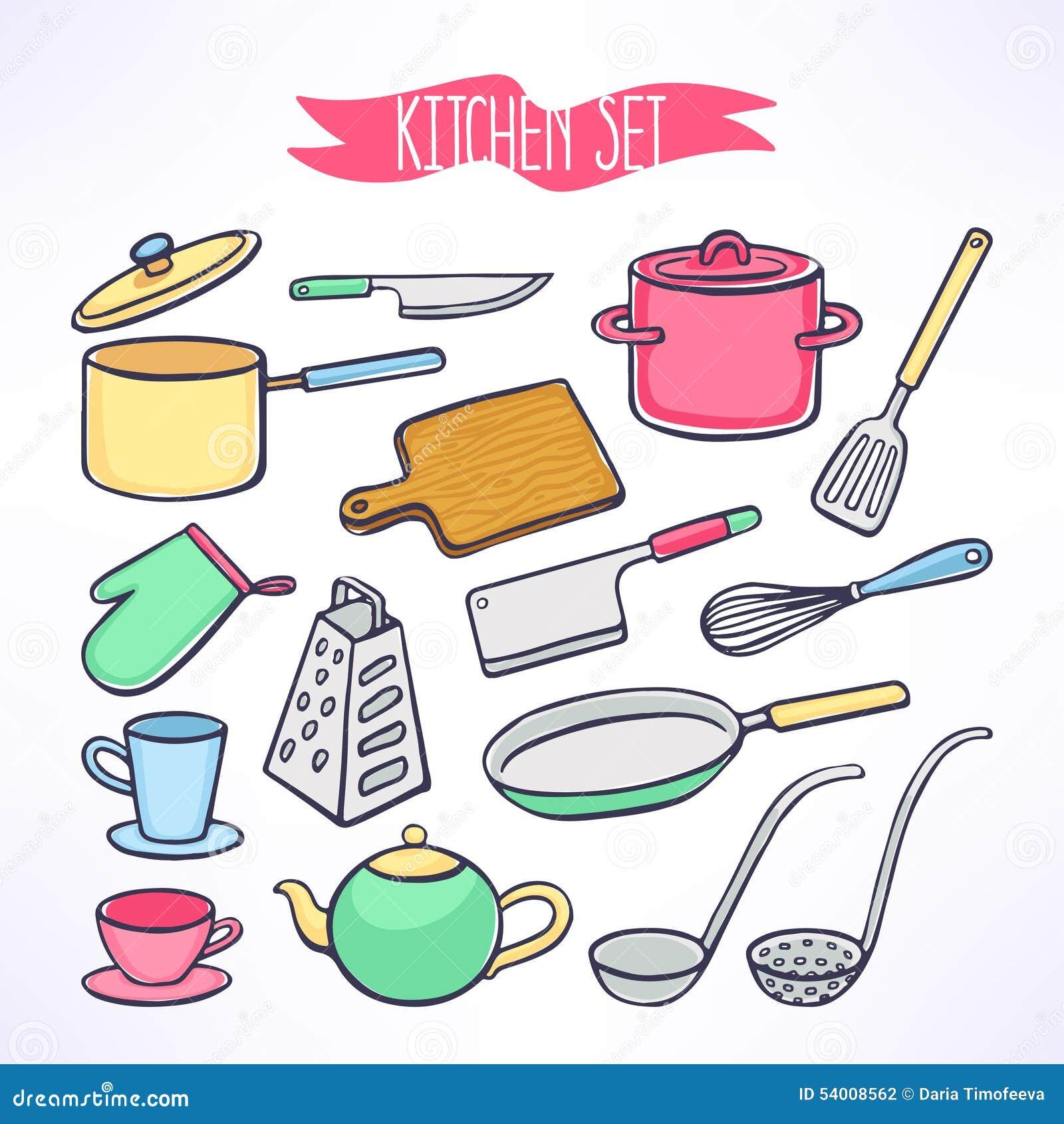 Fije con los utensilios de la cocina ilustraci n del for Utensilios de cocina fondo