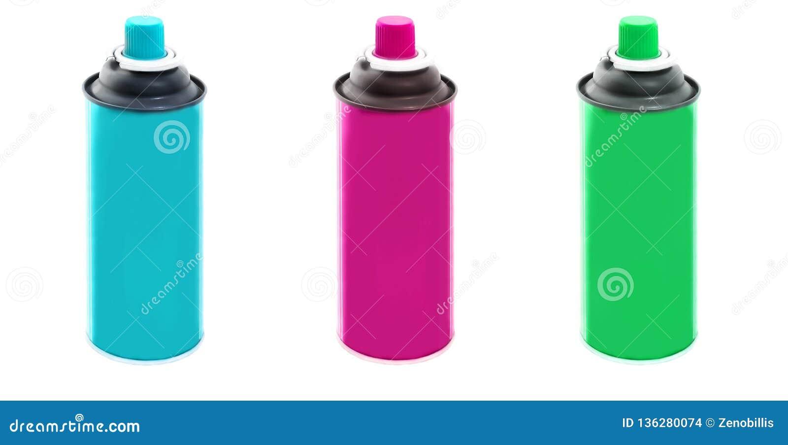 Fije de azul, púrpura y los colores verdes rocían las latas de la pintura aisladas en el fondo blanco