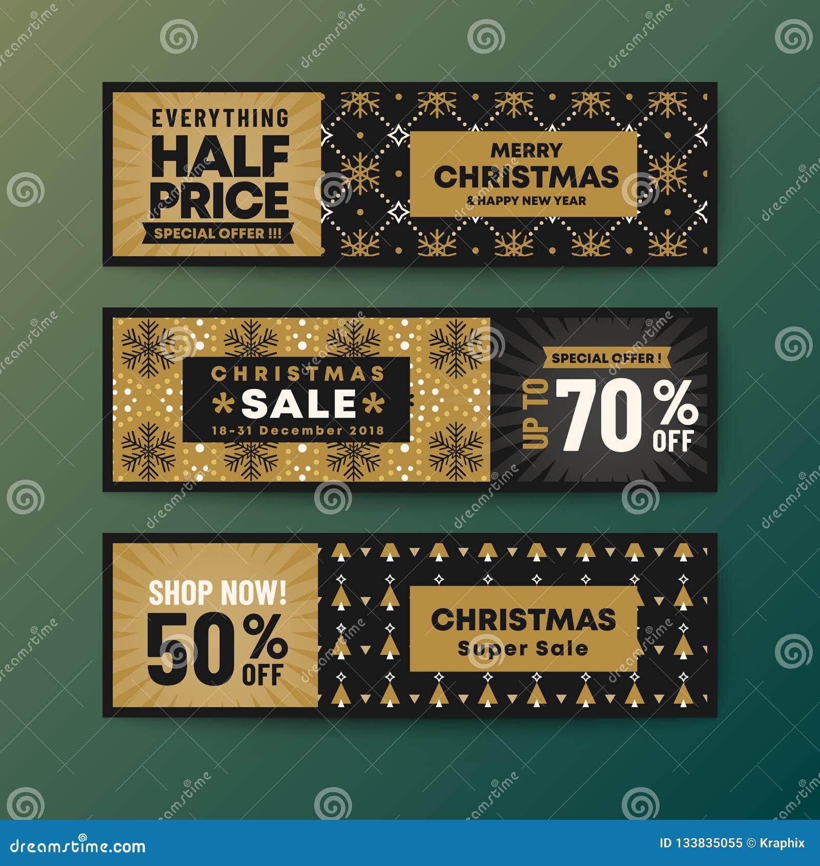 Fije de bandera de la web de la Navidad del tema del color oro