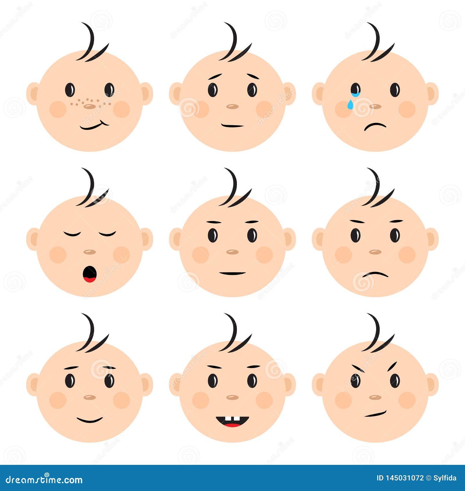 Fije de beb? de las caras con diversas emociones Vector