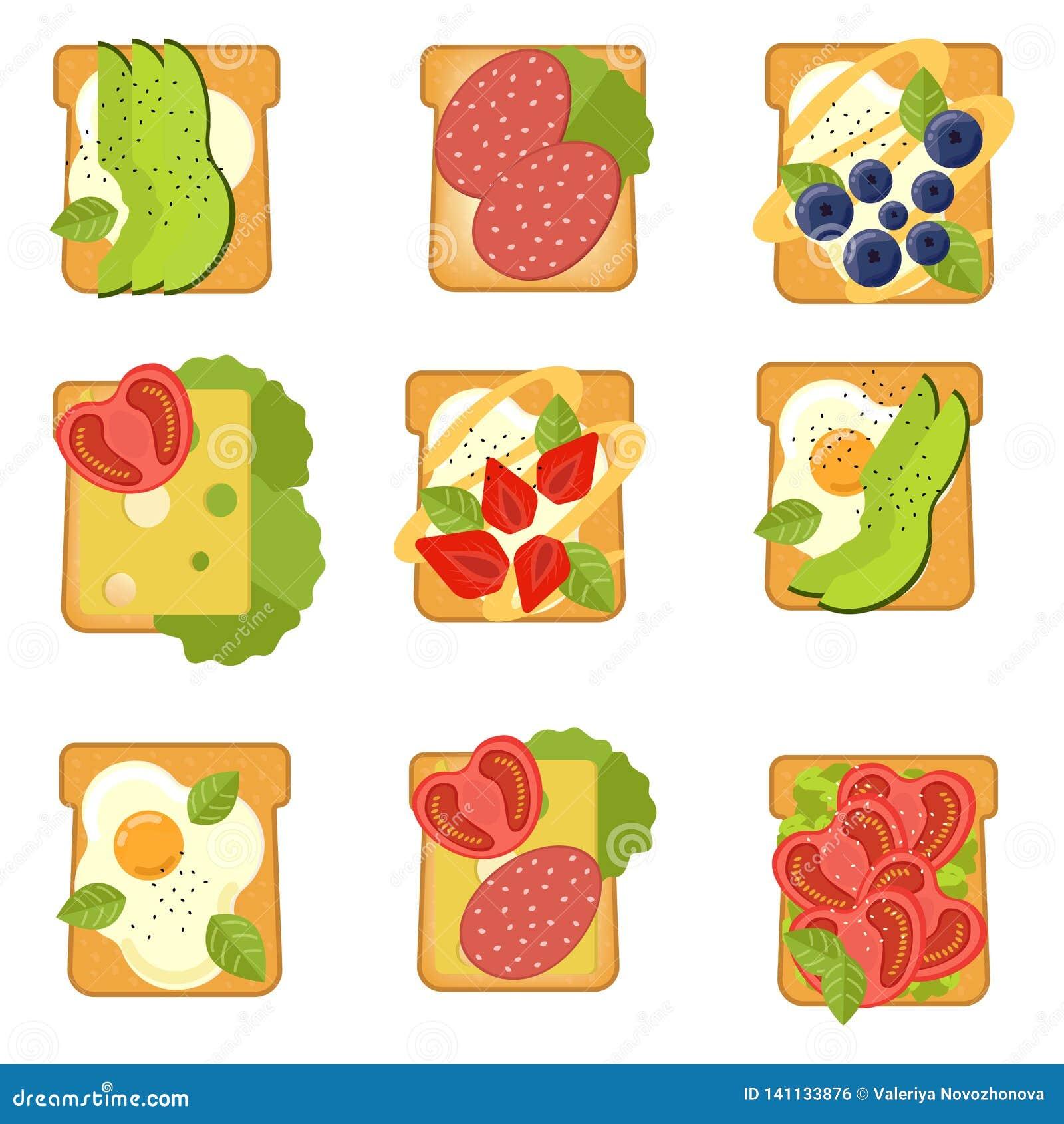 Fije de bocadillos con diversos ingredientes Tostada con el aguacate, salami, queso, salmón, bayas, fresa, higo Alimento sano