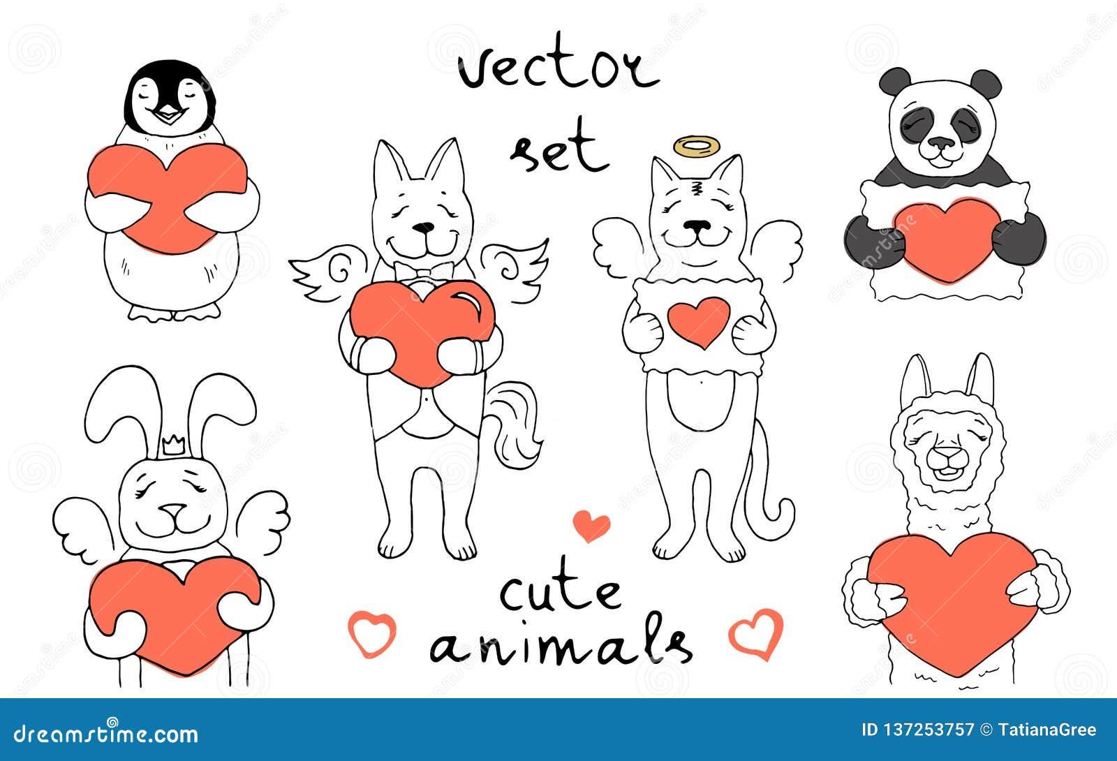 Fije de 6 caracteres del vector de diversos animales lindos