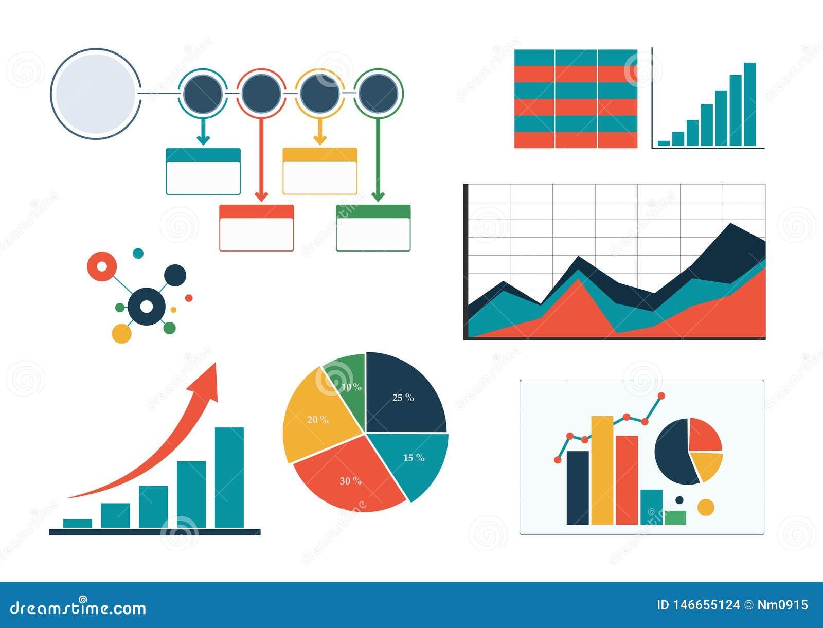 Fije de cartas de negocio coloridas, de diagrama y de organigrama infographic de la plantilla