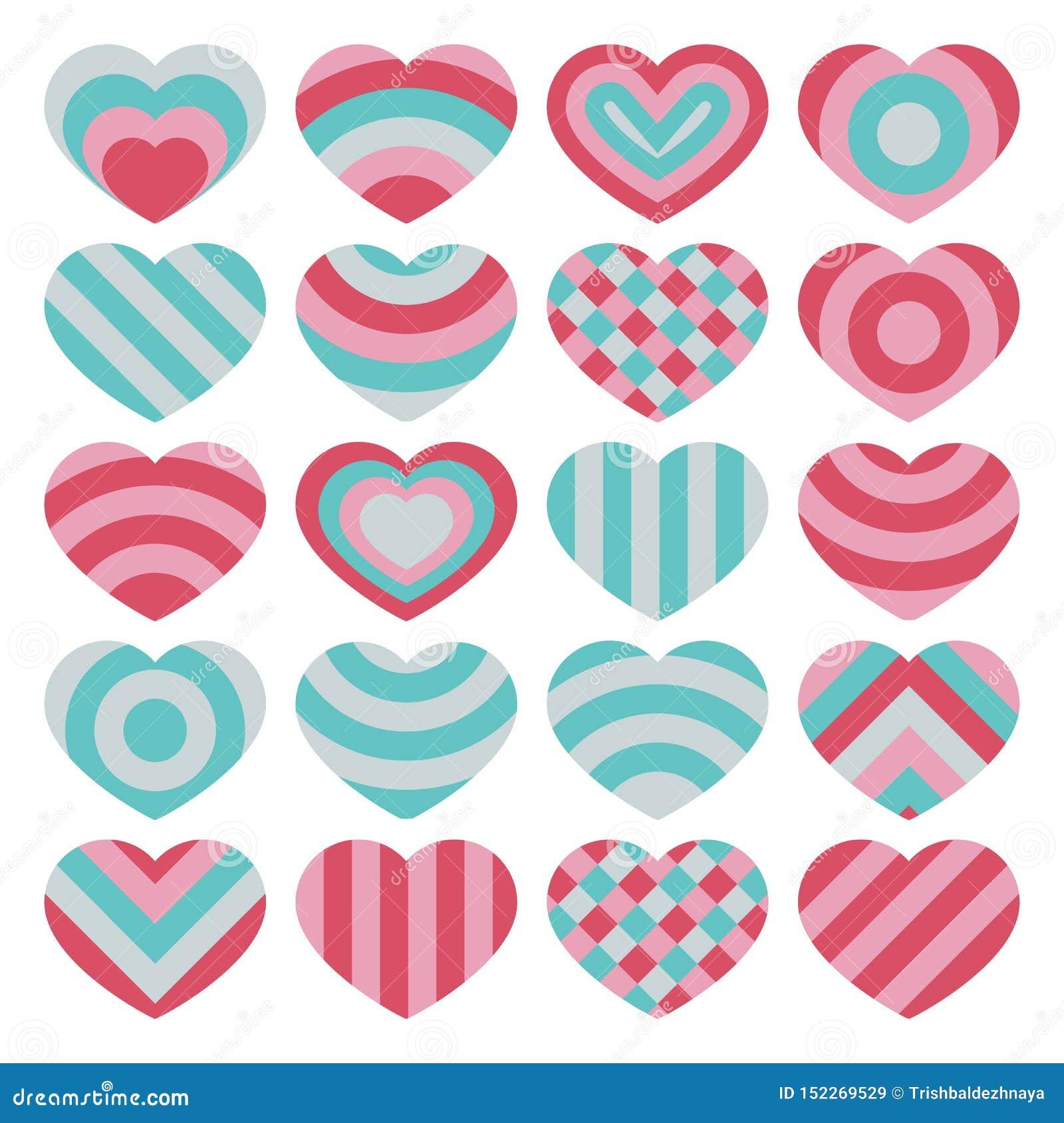 Fije de corazones coloridos aislados vector hermoso de las tarjetas del día de San Valentín en el fondo blanco
