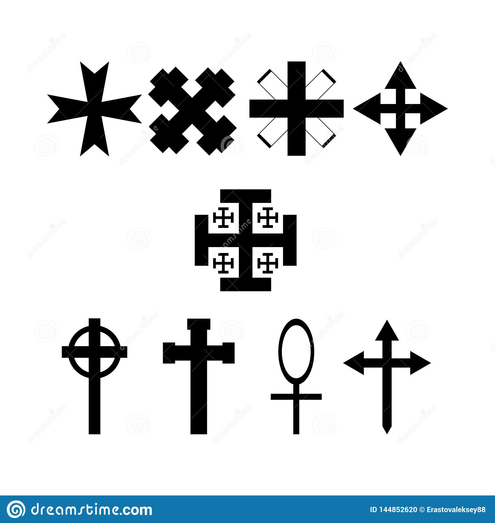 Fije de cruces simb?licas Iconos de la colecci?n Ilustraci?n del vector
