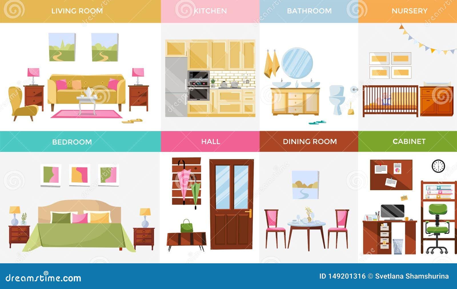 Fije de 8 cuartos de la casa del diseño interior con muebles: sala de estar, dormitorio, cocina, Ministerio del Interior, comedor