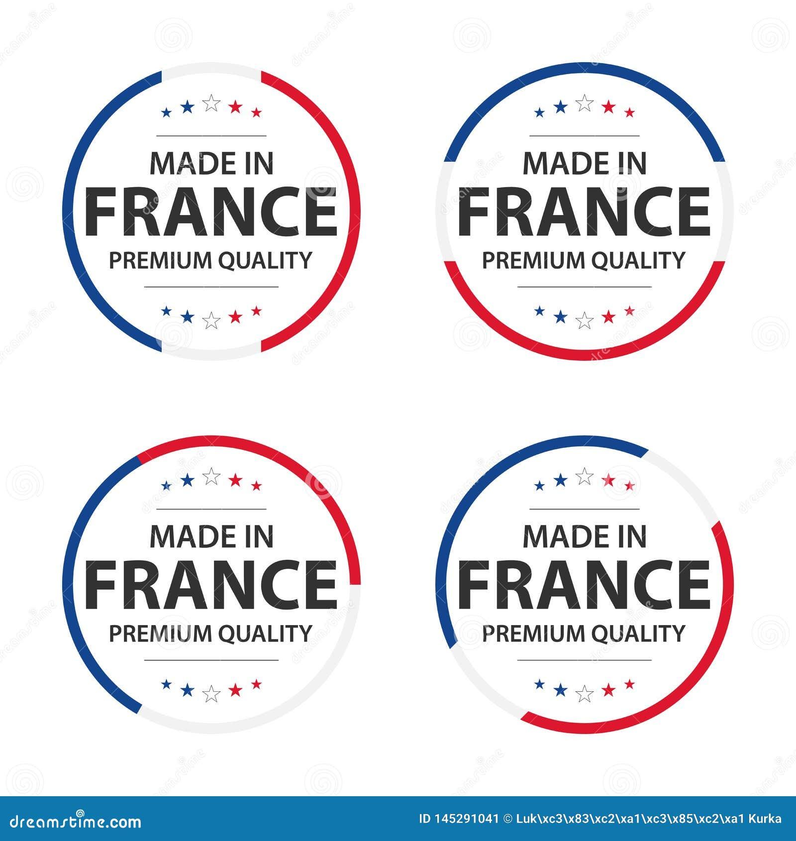 Fije de cuatro iconos franceses, hecho en Francia, etiquetas engomadas superiores de la calidad y símbolos con las estrellas
