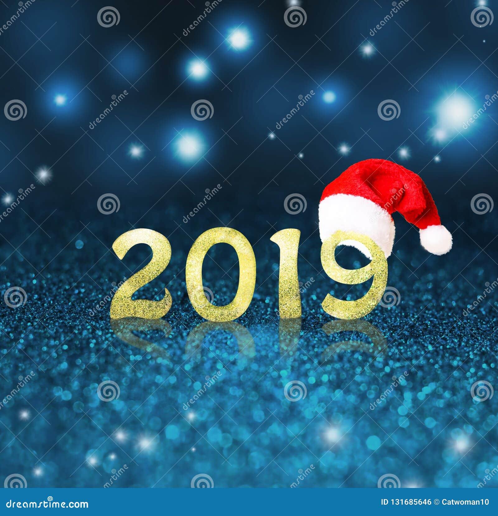 Fije de dígitos brillantes del oro en fondo del brillo Fondo 2018 del Año Nuevo Navidad