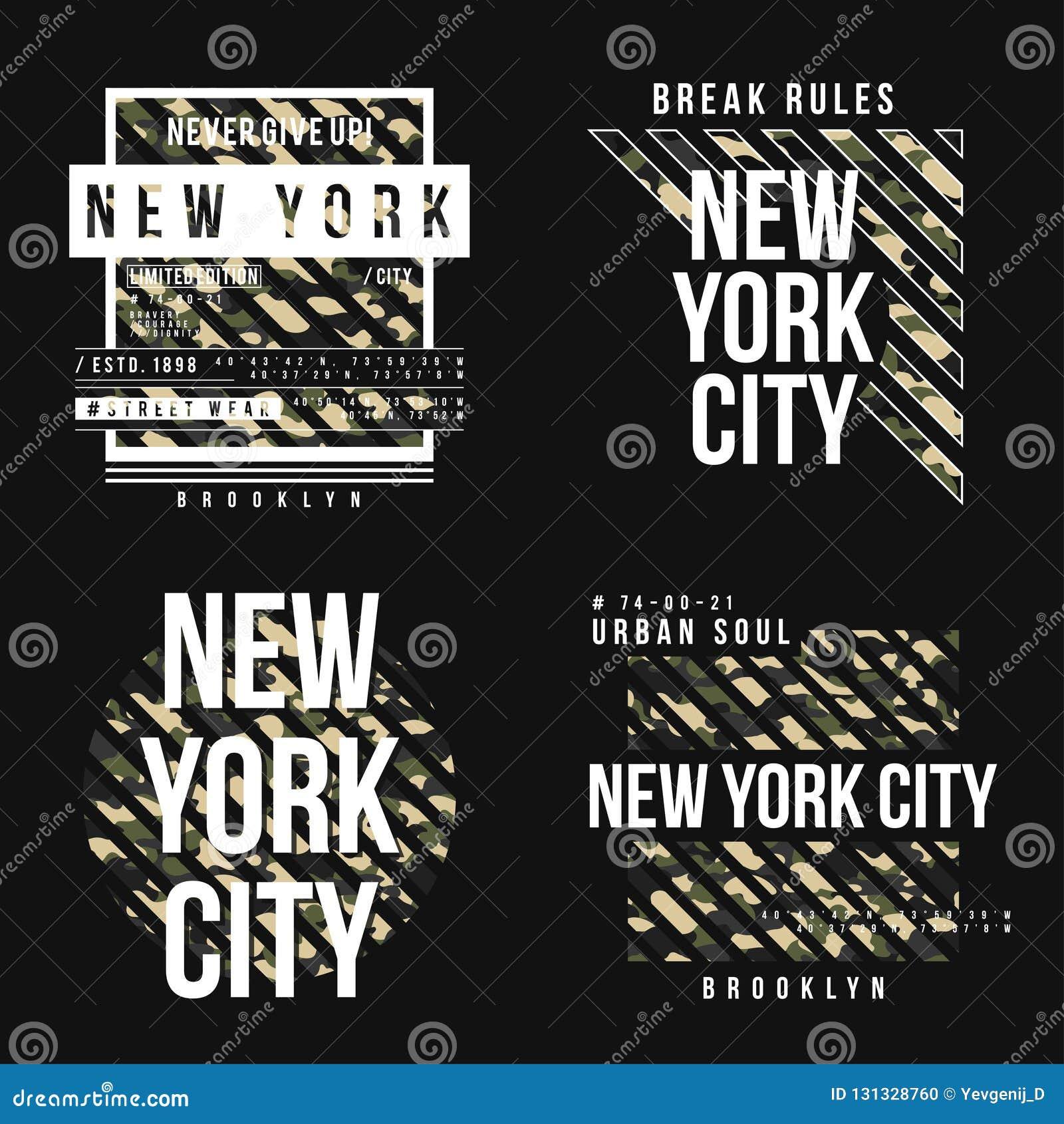 Fije de diseño de la camiseta en estilo militar del ejército con textura del camuflaje Tipografía de New York City con lema