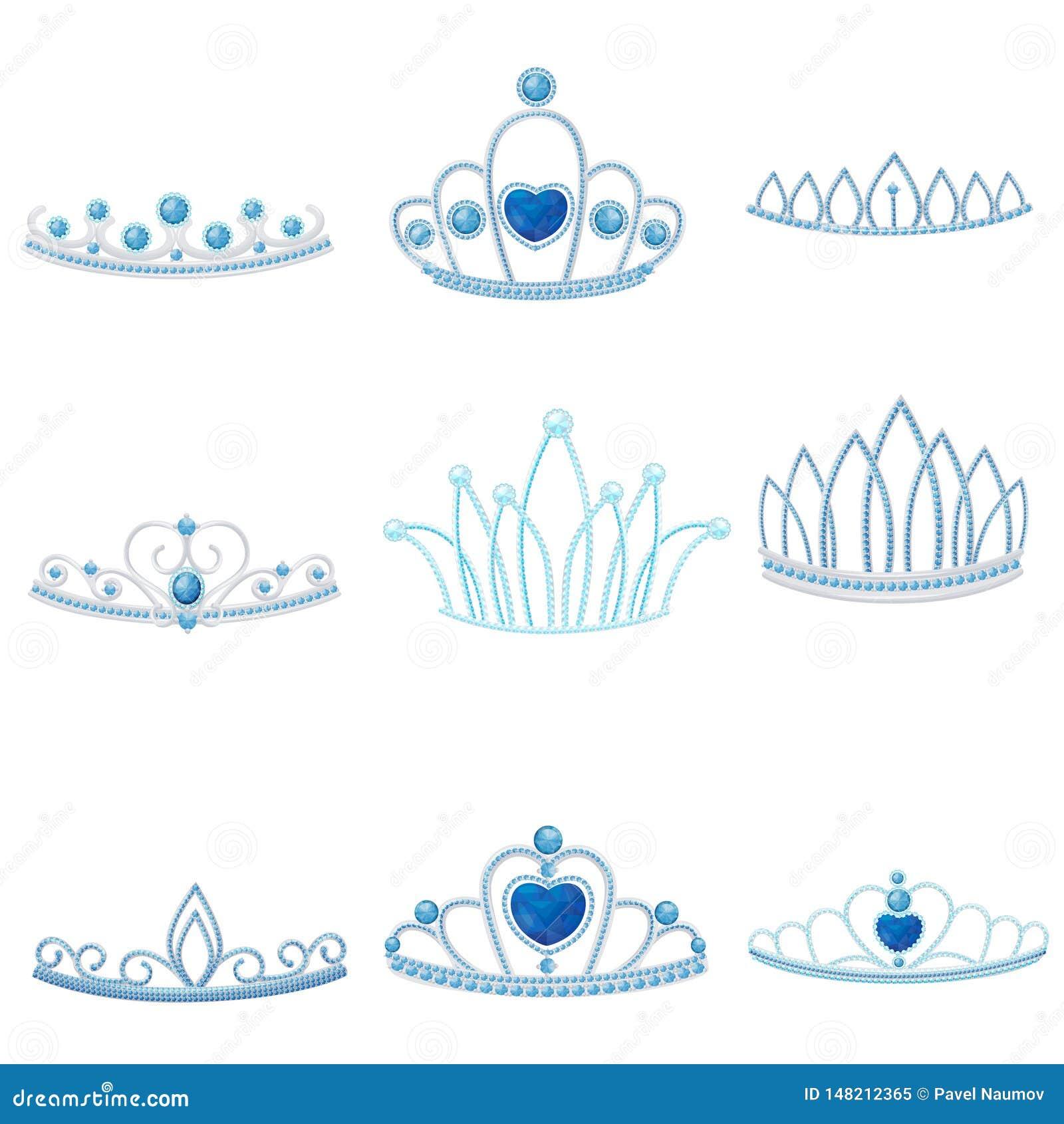 Fije de diversas coronas de plata con la joya grande y pequeña de zafiros Ilustraci?n del vector