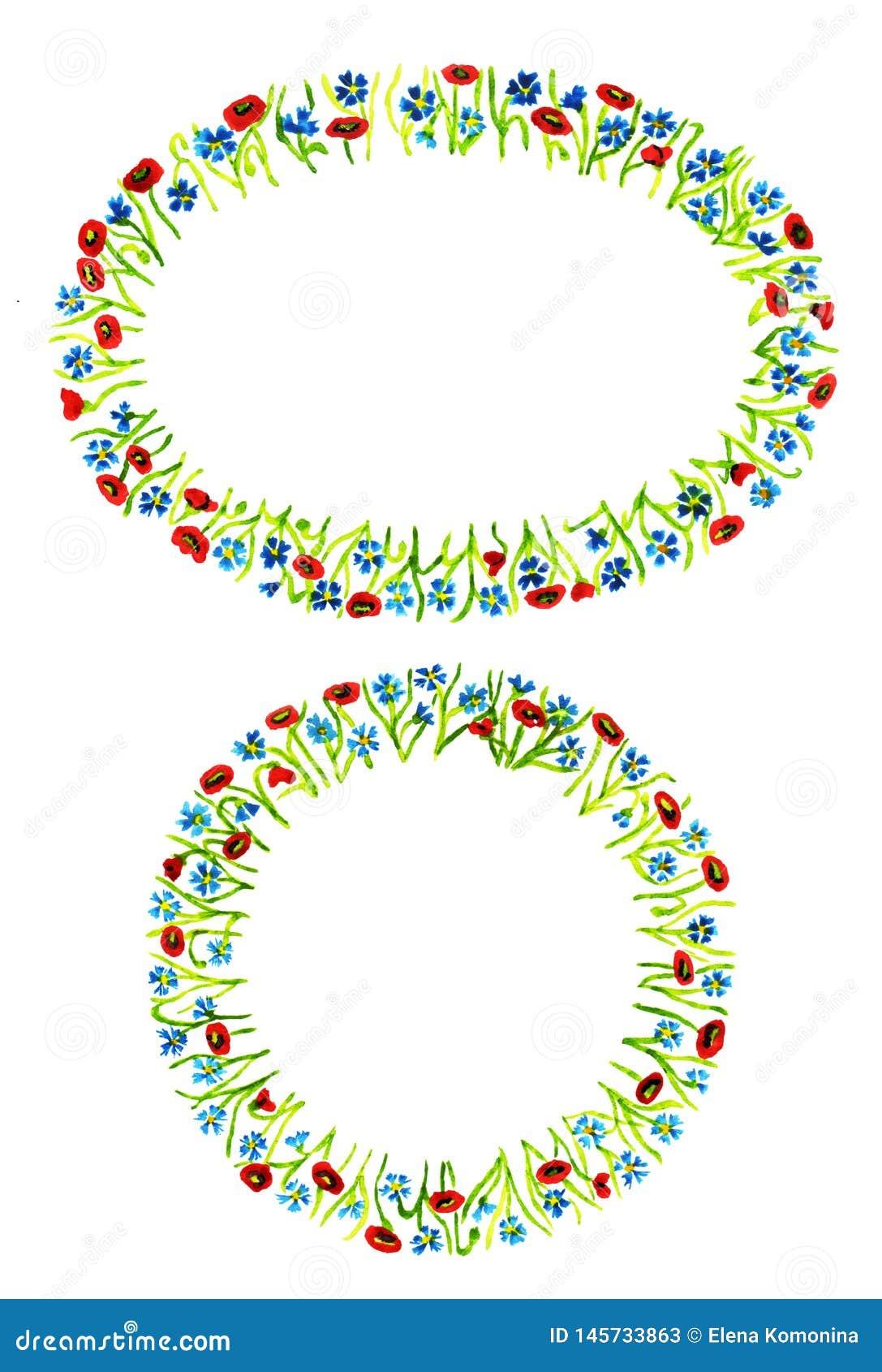 Fije de dos diversos bastidores florales formados aislados en el fondo blanco