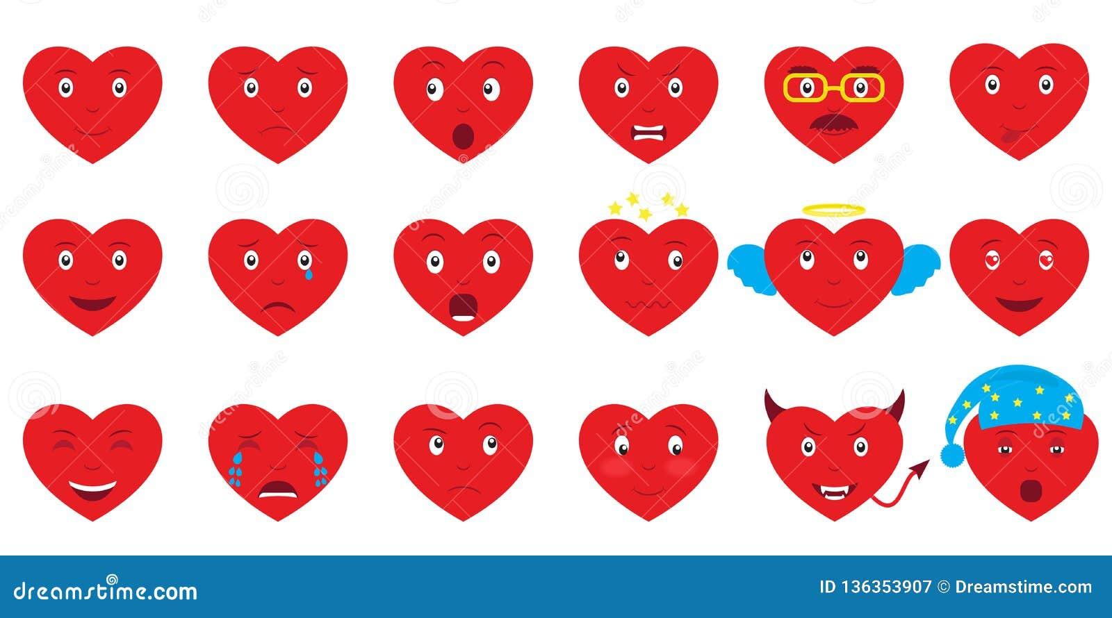 Fije de emoji de 18 corazones Elementos del diseño para el día de tarjetas del día de San Valentín