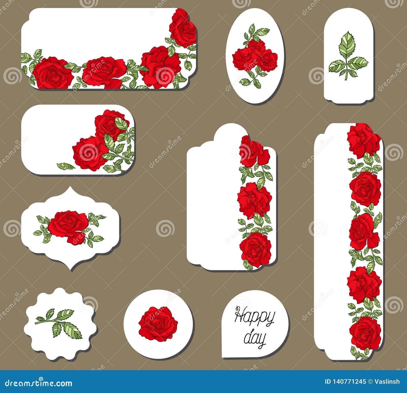 Fije de etiquetas con las flores de las rosas rojas