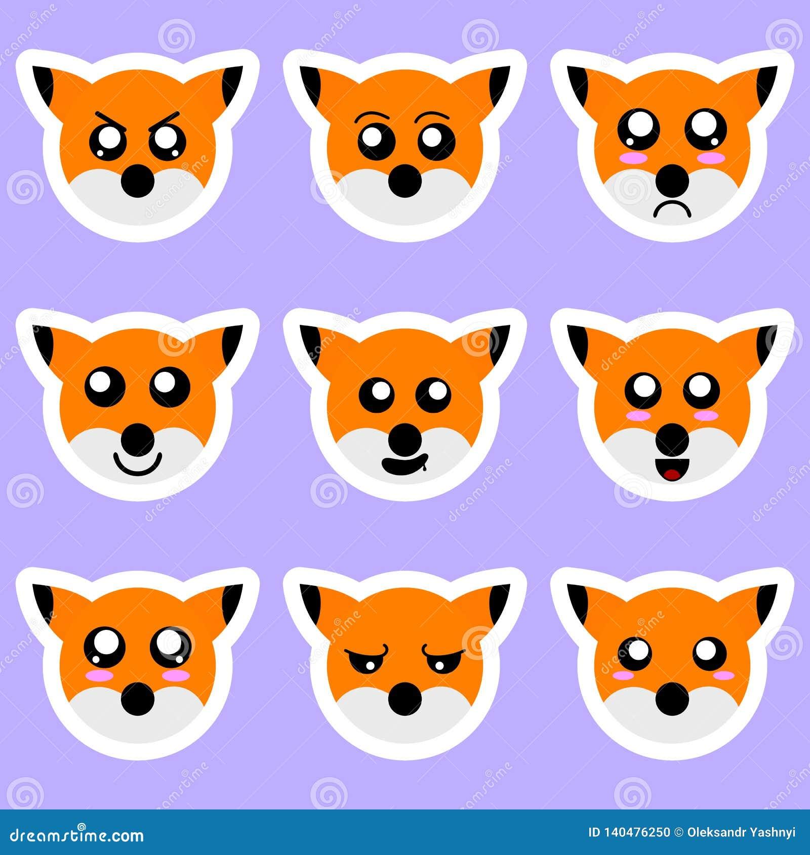 Fije de etiquetas engomadas del zorro Diversas emociones, expresiones Etiqueta engomada en estilo del animado Ilustración del vec