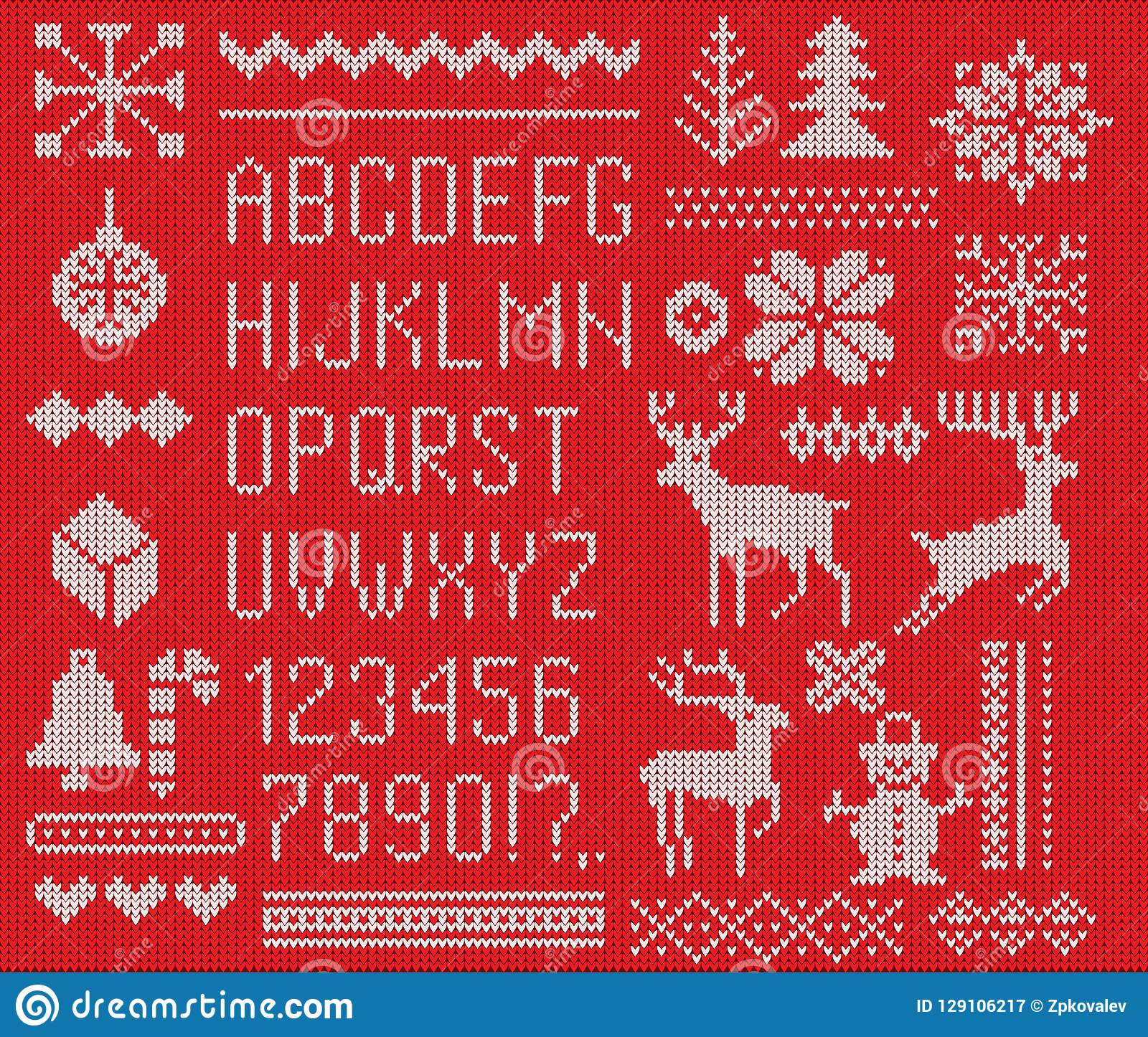 Fije de fuente hecha punto, los elementos y las fronteras para la Navidad, Año Nuevo o diseño del invierno Estilo feo del suéter