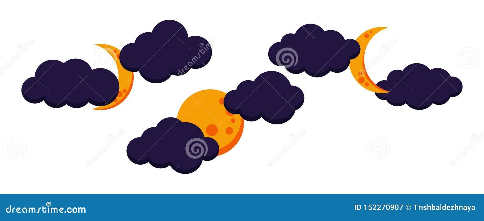 Fije de icono nublado colorido de la noche de la luna: lleno, disminuyendo, luna creciente