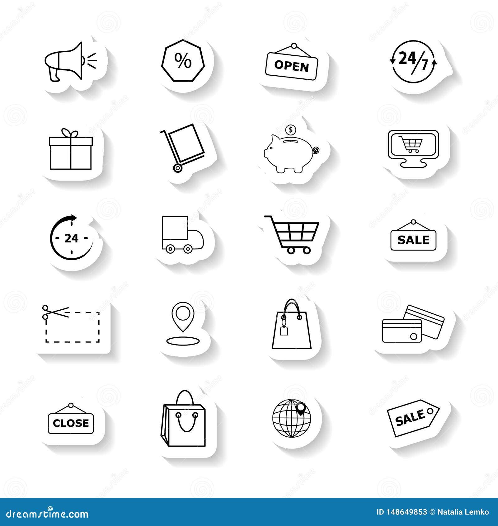 Fije de iconos comerciales al por menor las etiquetas engomadas