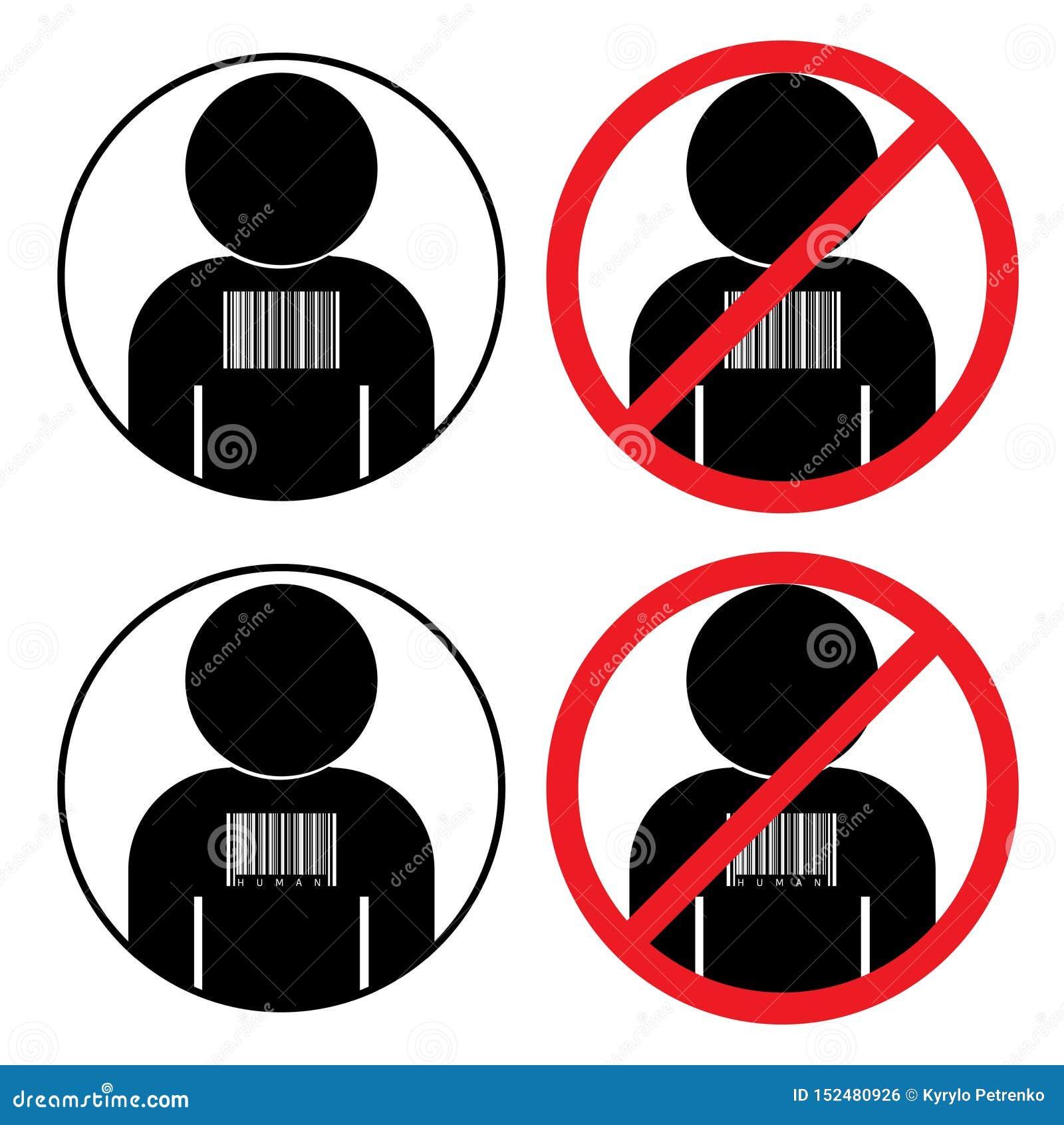 Fije de iconos contra el tráfico humano de la esclavitud