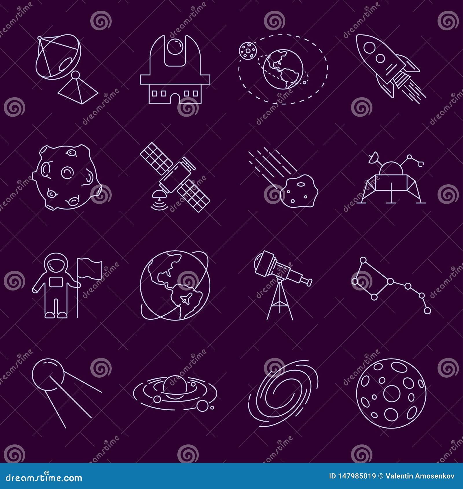 Fije de iconos finos de la astronomía y del espacio de LineVector Astronauta, astronauta, Sistema Solar, galaxia, planeta, tierra