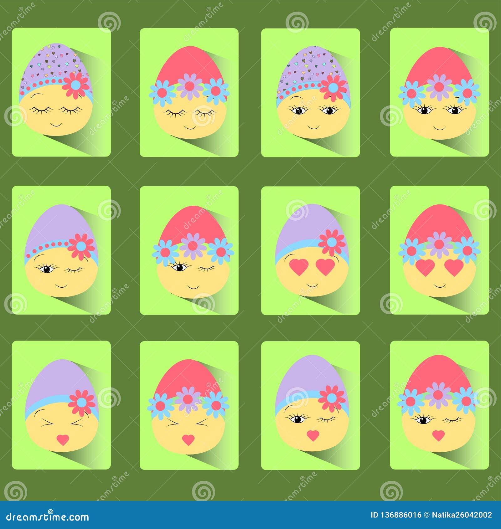 Fije de iconos de la huevo-sonrisa de doce Pascua