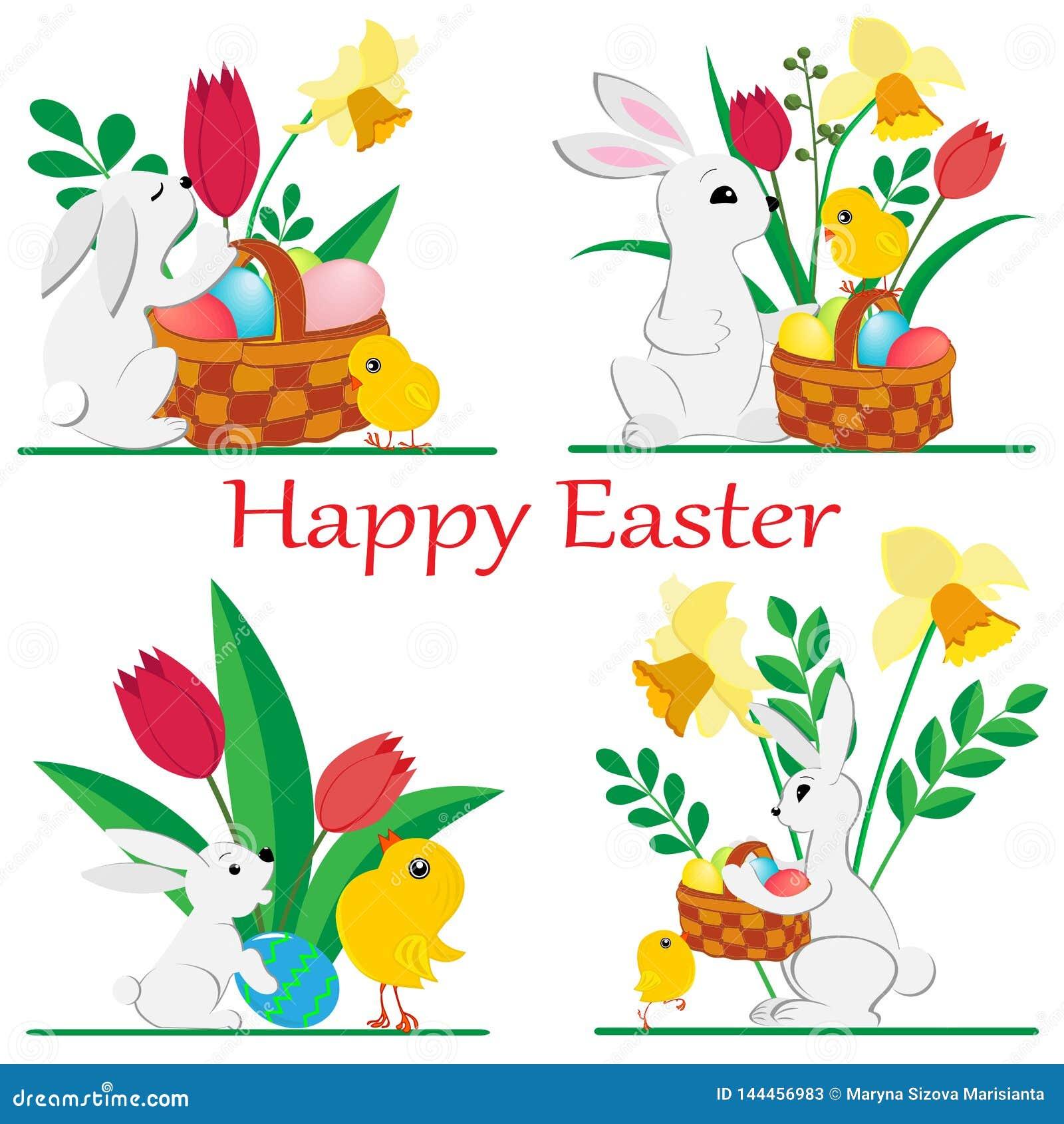 Fije de imágenes de los conejos y de los pollos de Pascua con los narcisos y los tulipanes de la primavera y pintó los huevos en