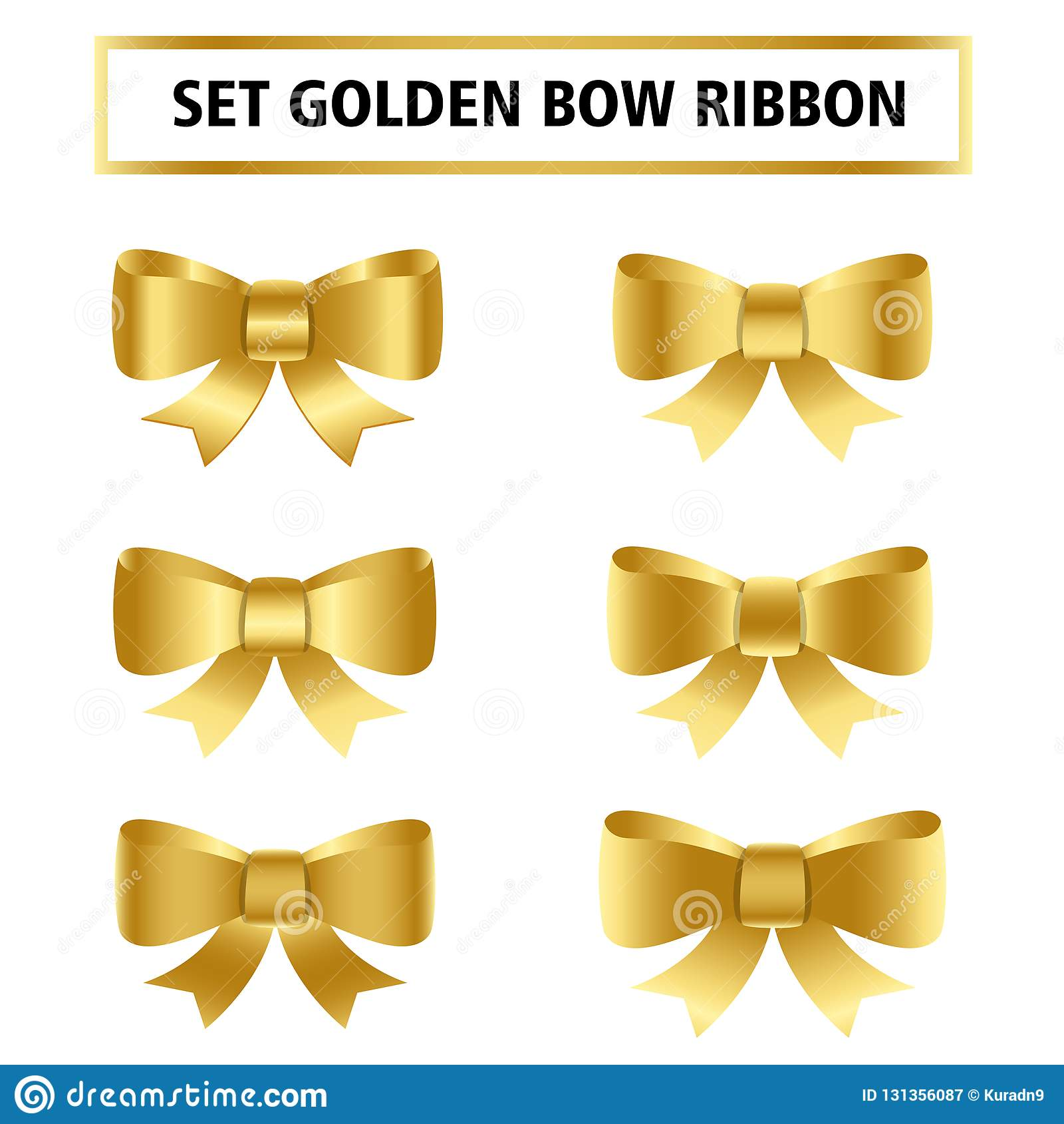 Fije de la cinta de oro del arco para la Navidad, el cumpleaños, el regalo, el aniversario, el etc