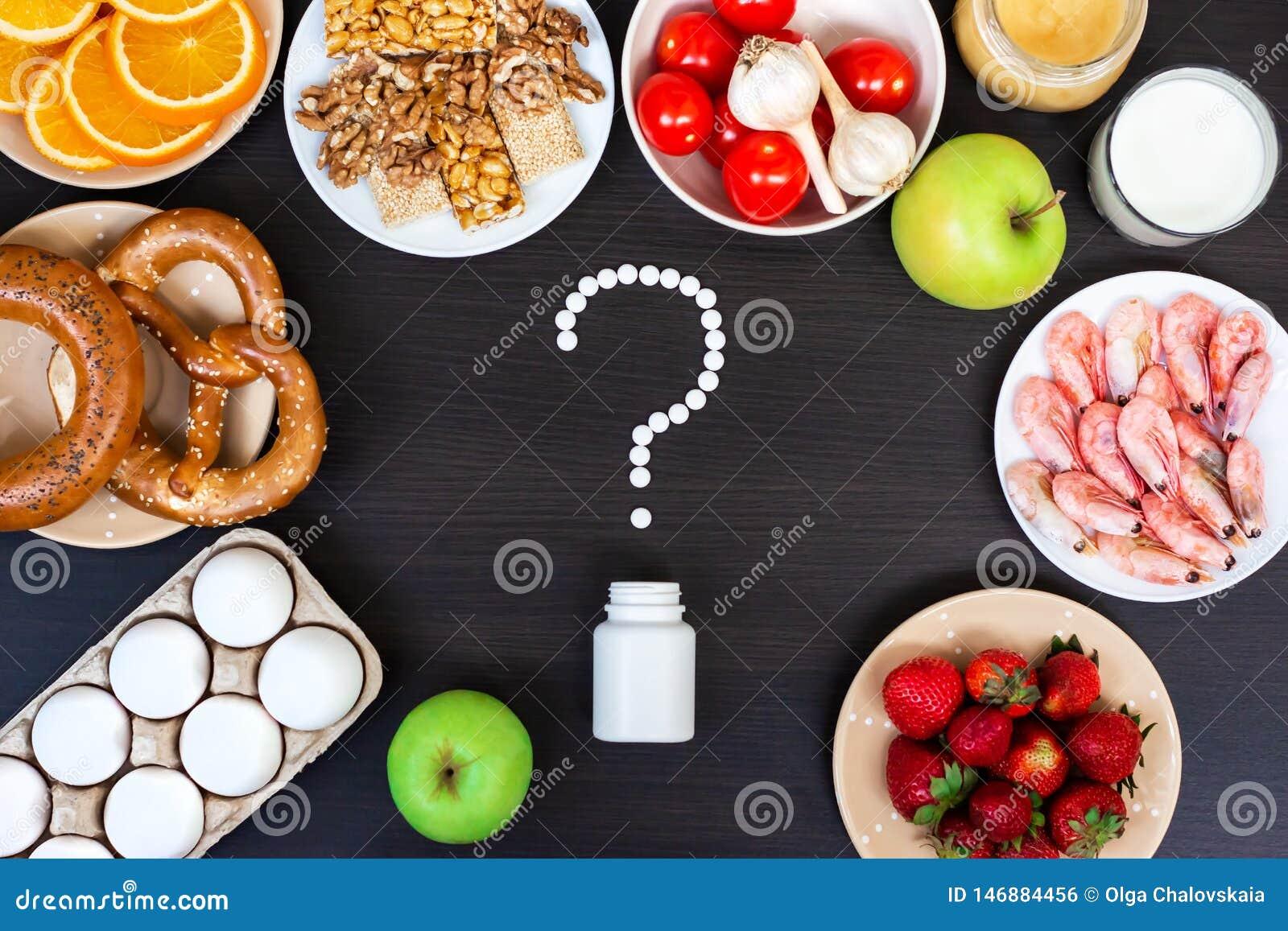 Fije de la comida que alergia de la causa Visi?n superior
