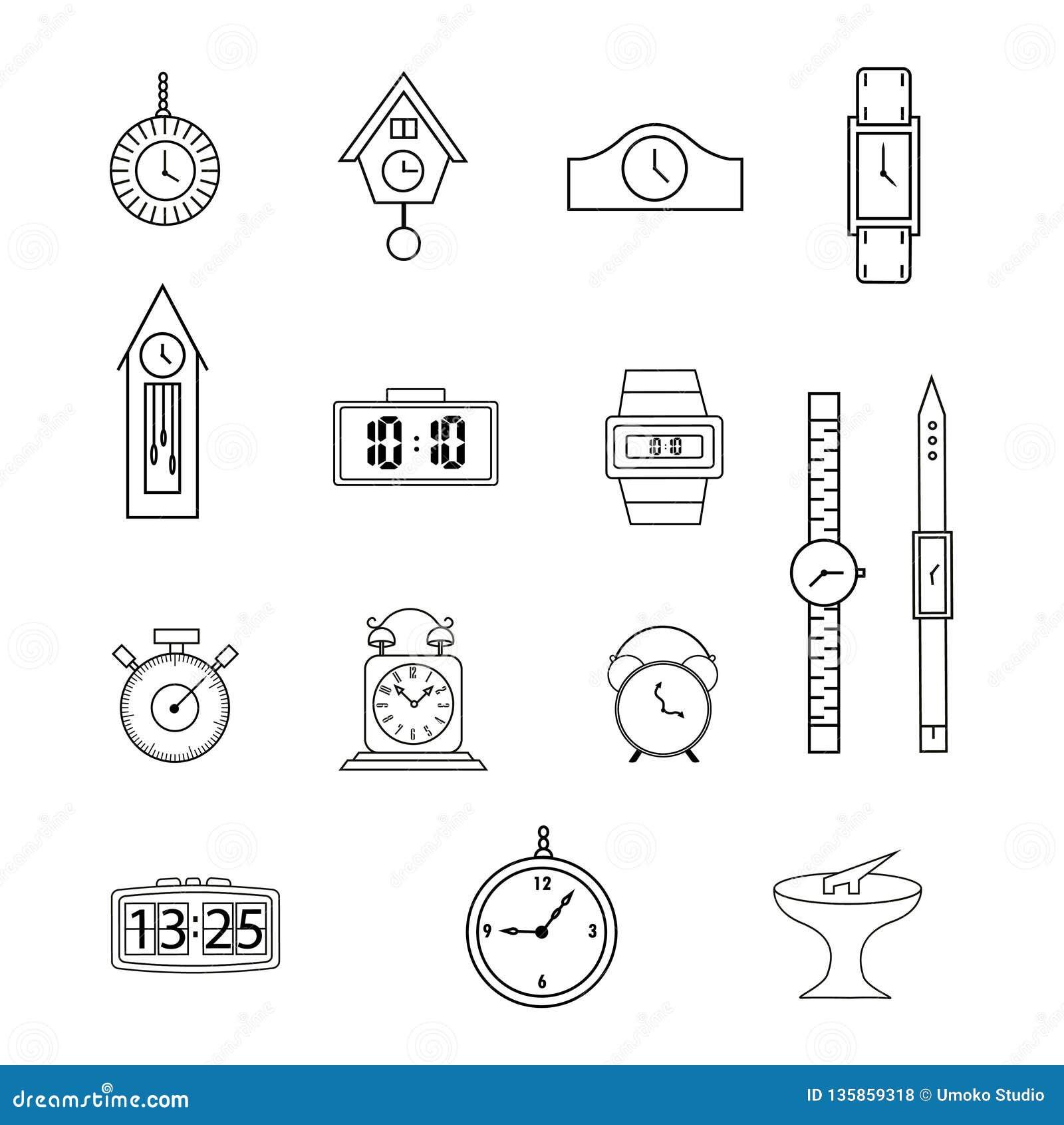 Fije de la línea iconos, iconos planos colección, reloj, reloj, en el fondo blanco