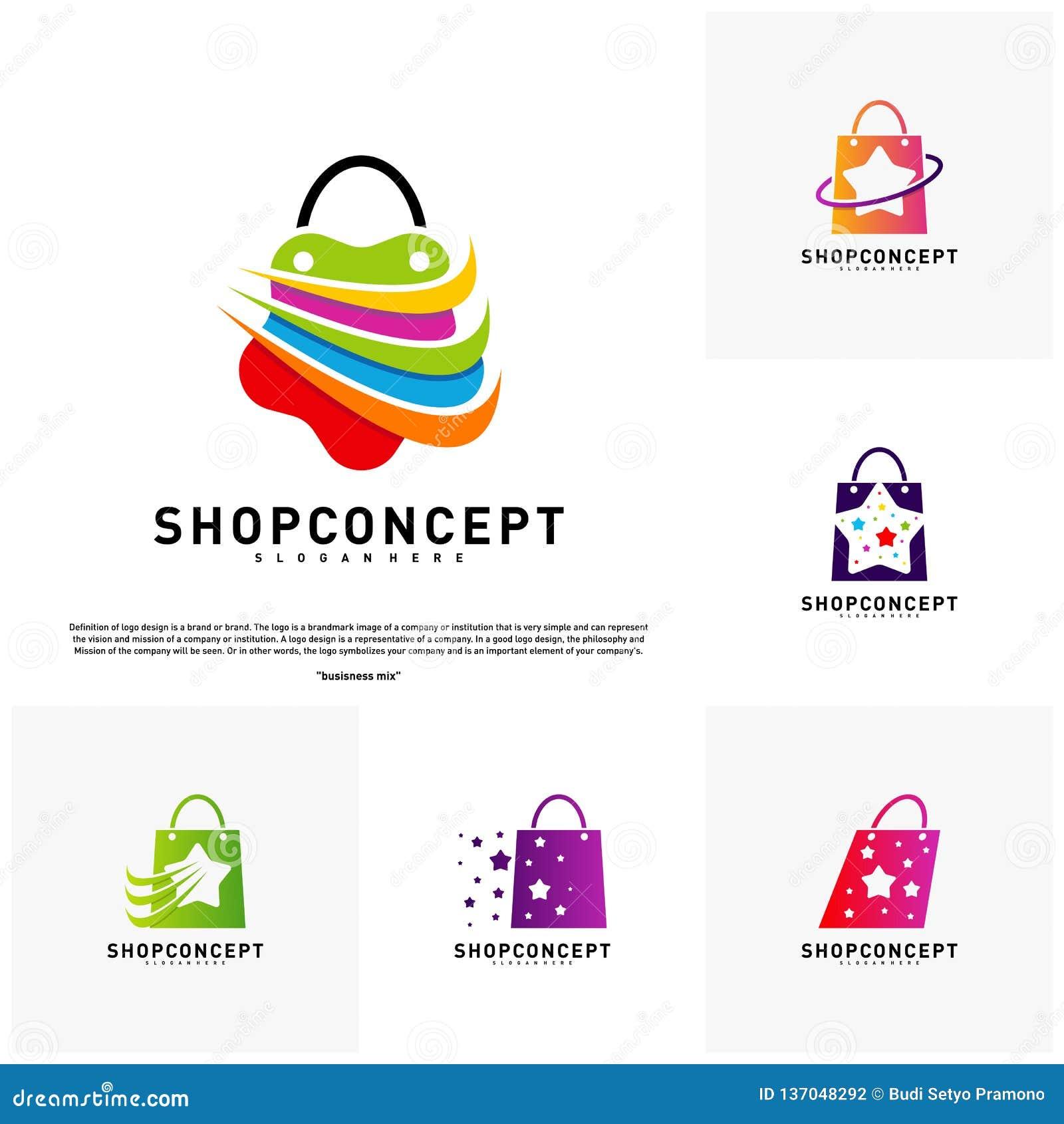 Fije de la tienda Logo Design Concept de la estrella Centro comercial Logo Vector Símbolo de la tienda y de los regalos