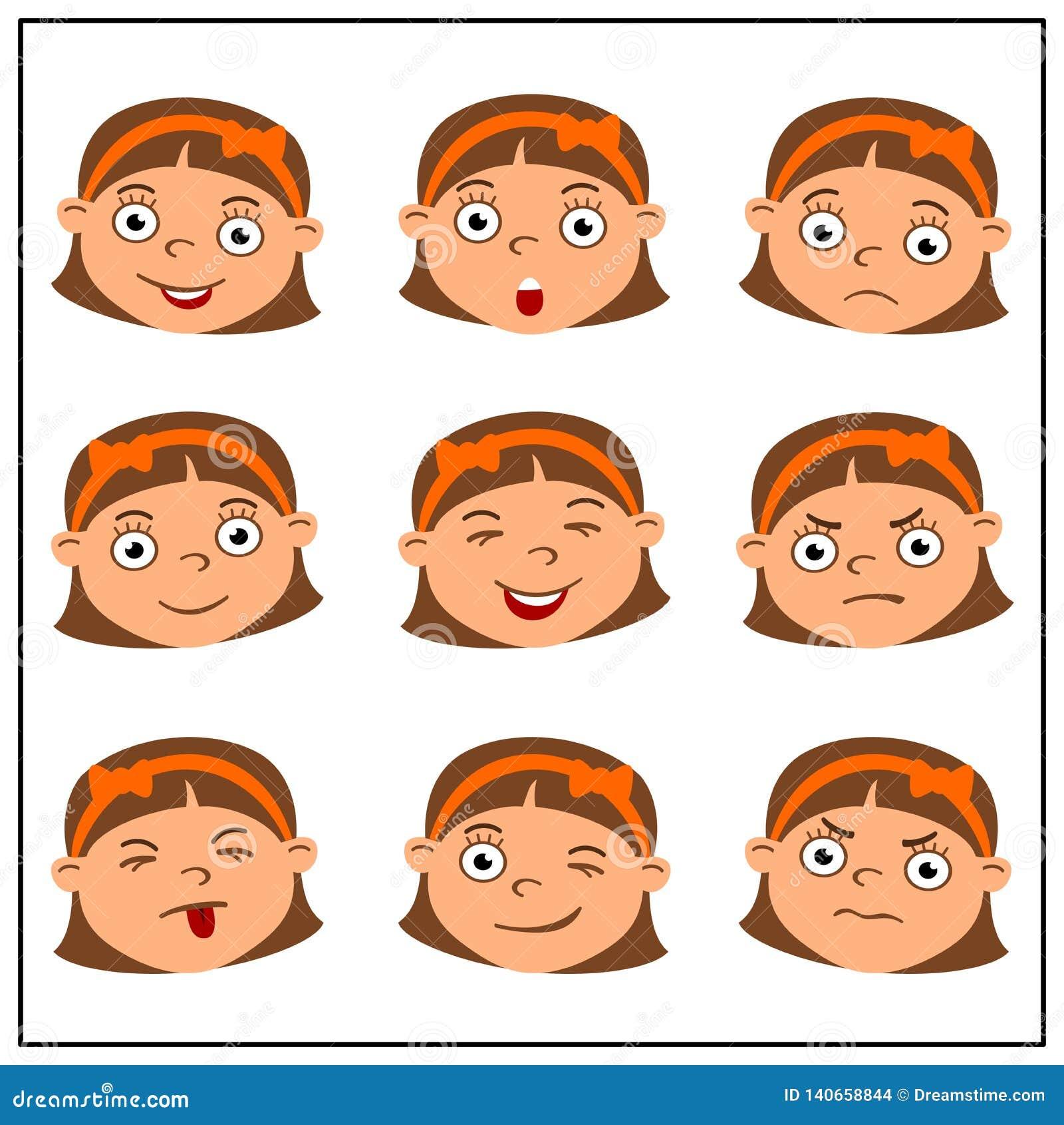 Fije de las caras de la muchacha divertida con diversas emociones en estilo de la historieta